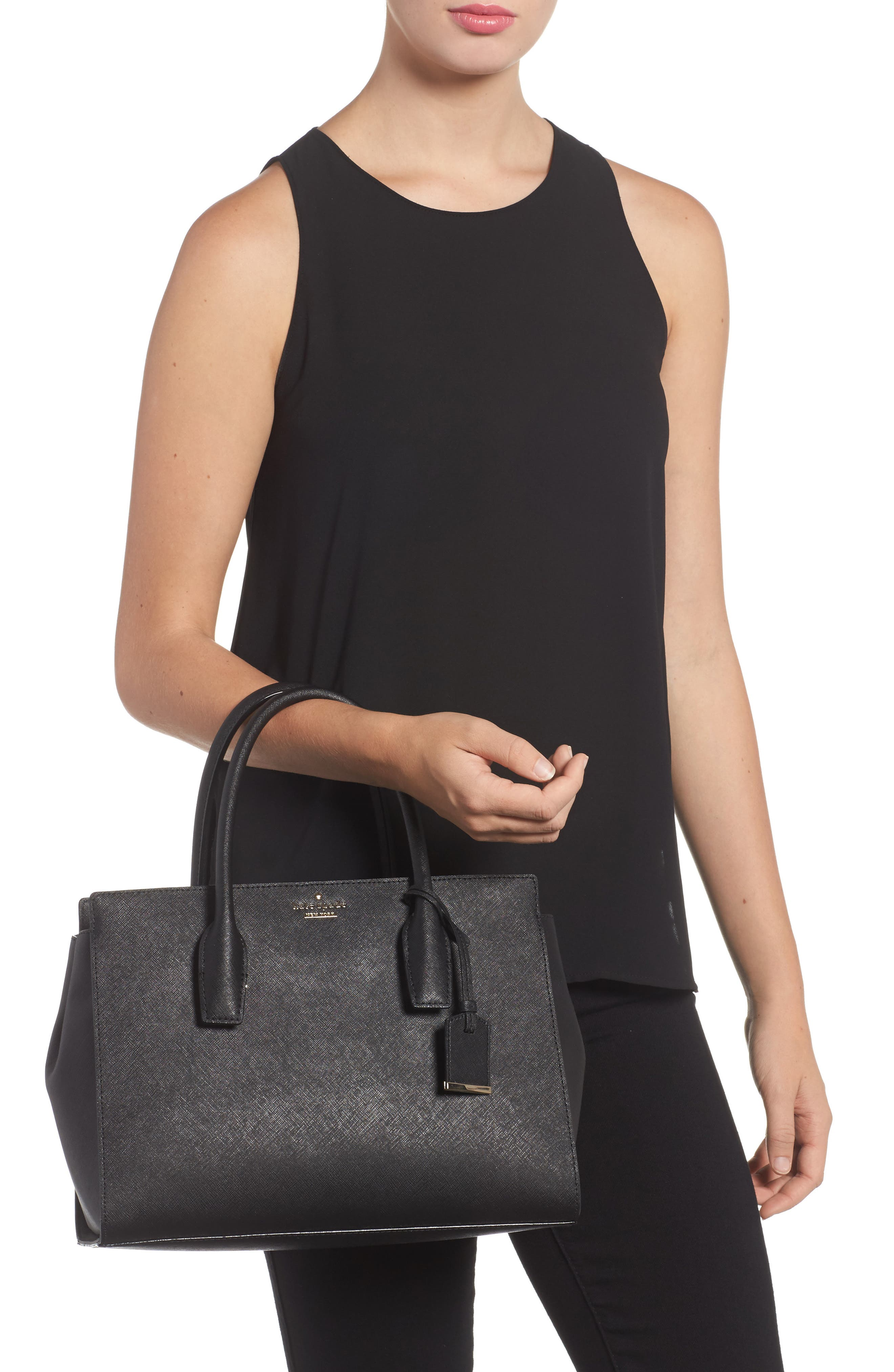make it mine - candace leather satchel,                             Alternate thumbnail 2, color,                             001