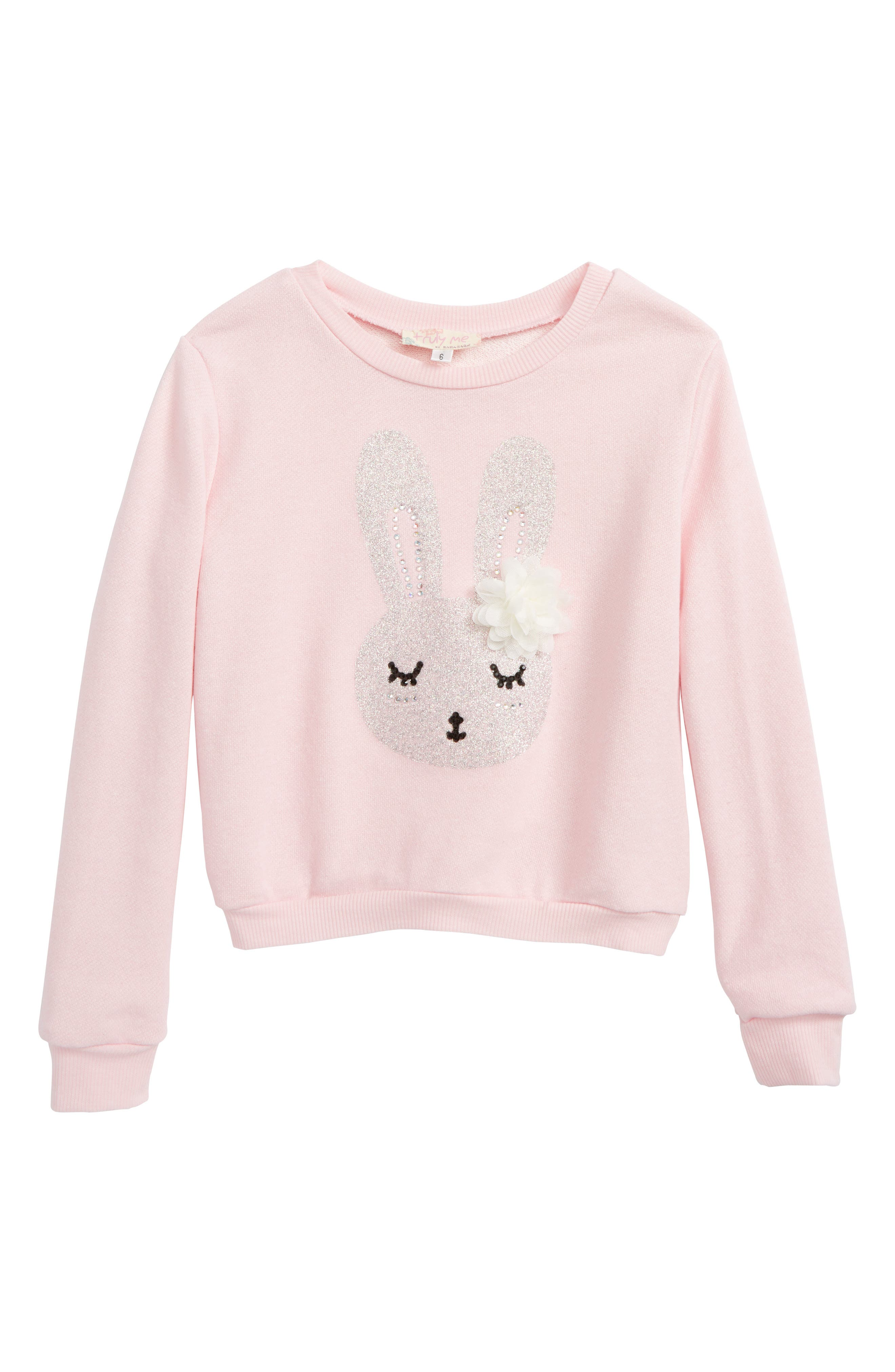 TRULY ME,                             Bunny Graphic Sweatshirt,                             Main thumbnail 1, color,                             680