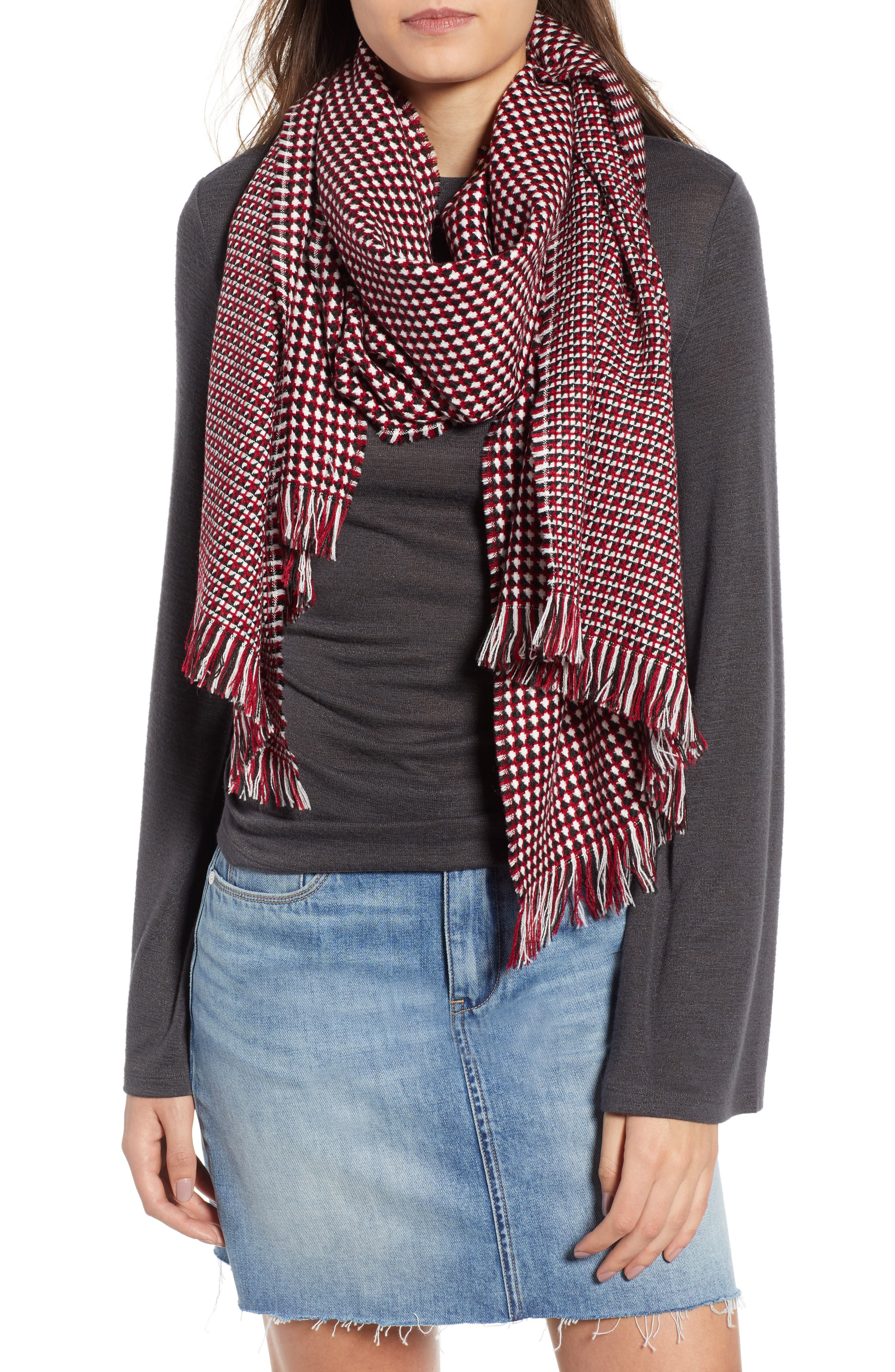 Waffle Grid Oblong Scarf,                             Main thumbnail 1, color,                             600