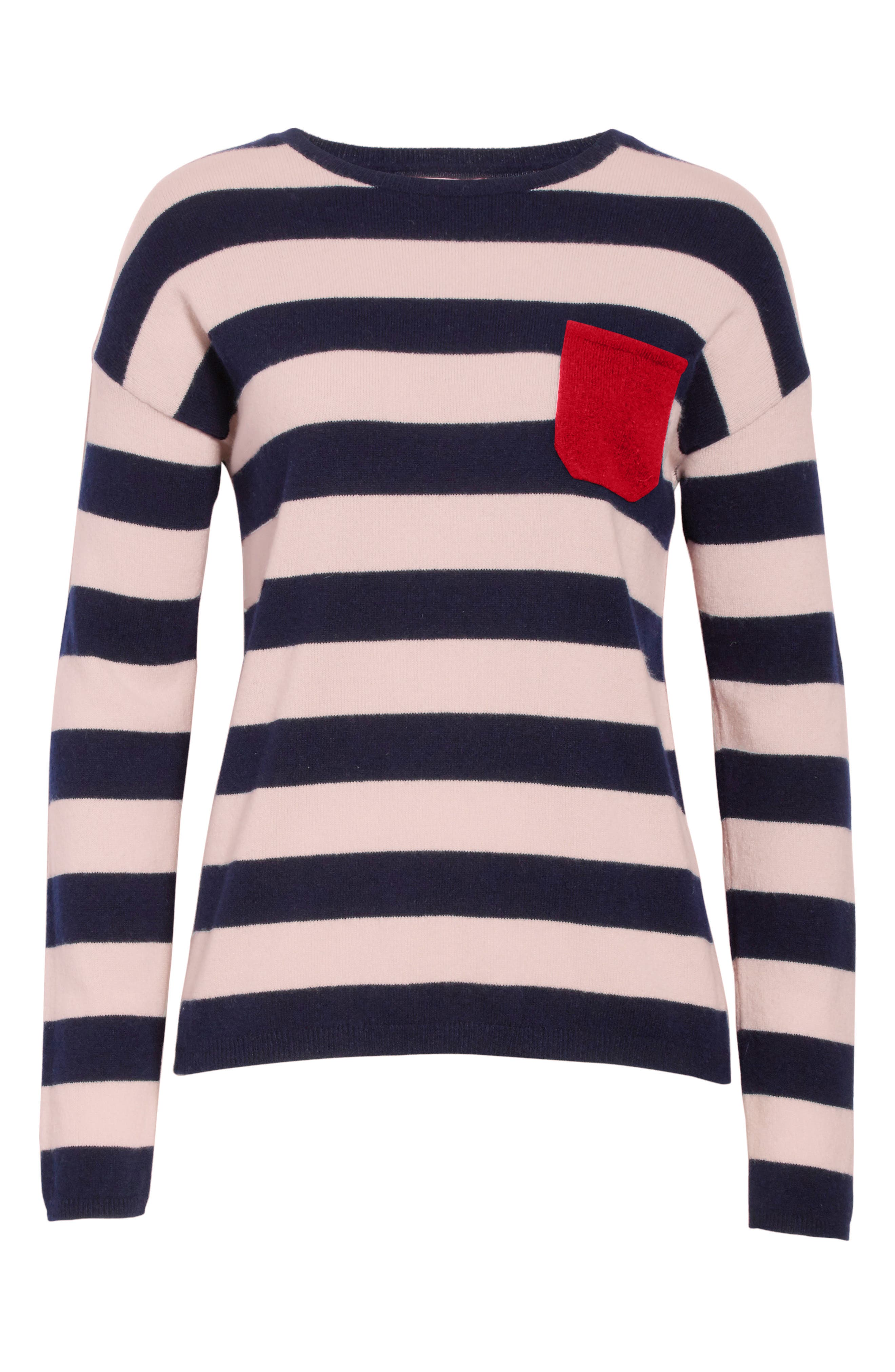 CHINTI & PARKER Navy Pop Stripe Cashmere Sweater,                             Alternate thumbnail 6, color,                             680