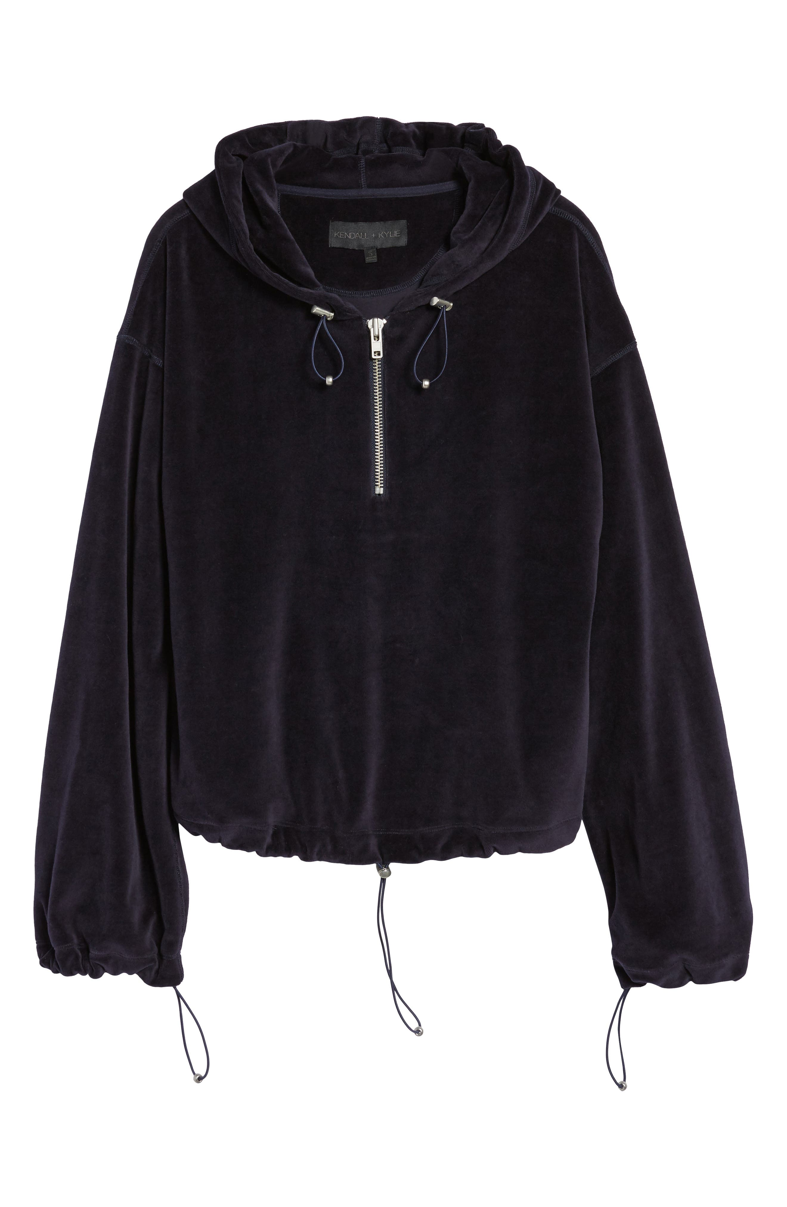 Oversize Velour Hoodie,                             Alternate thumbnail 6, color,                             001