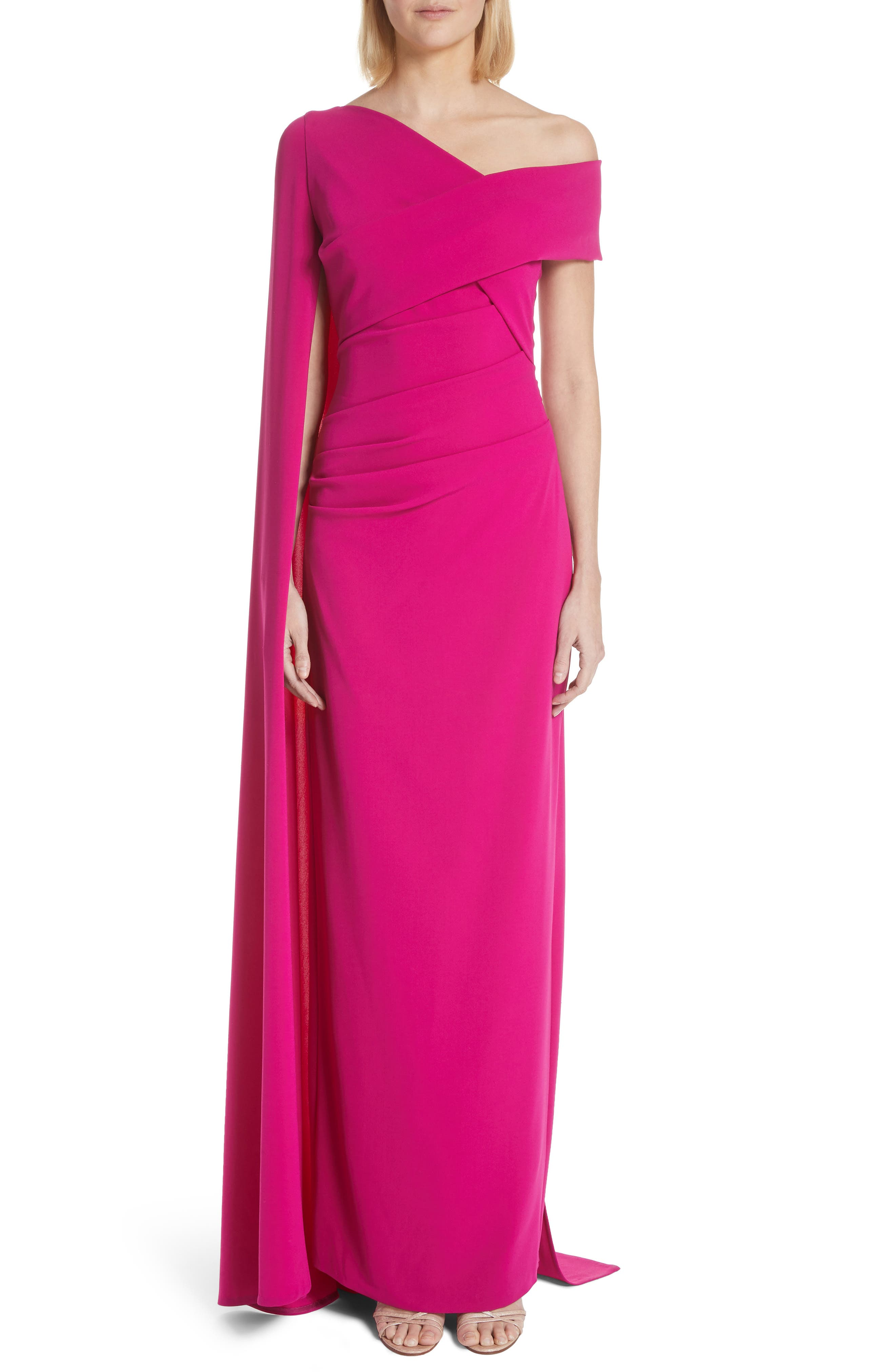 Talbot Runhof Cape Stretch Crepe Gown, Pink