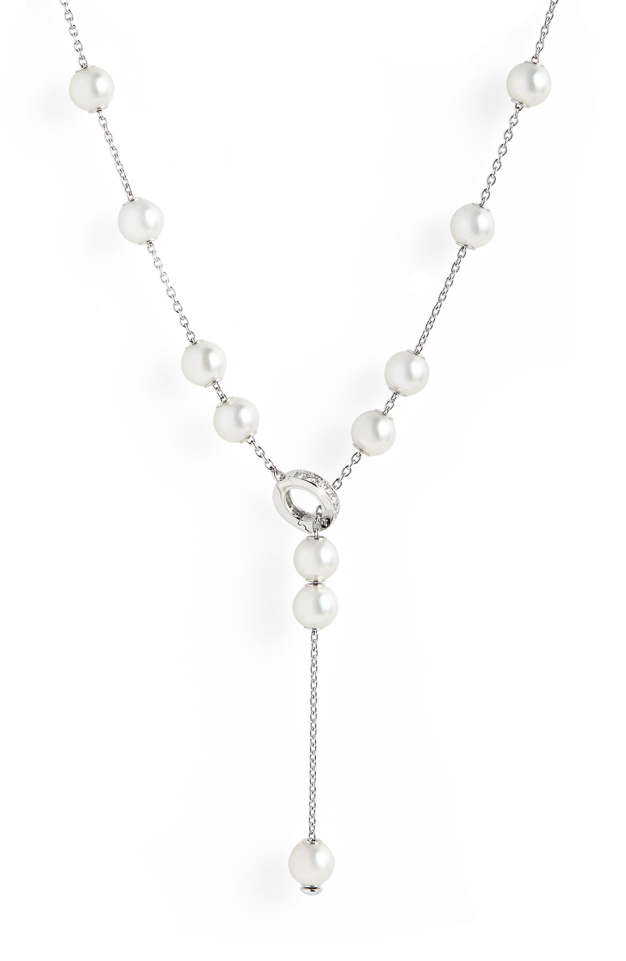 MIKIMOTO Pearls In Motion Diamond Clasp A+ Pearl Necklace in White Gold/ Pearl