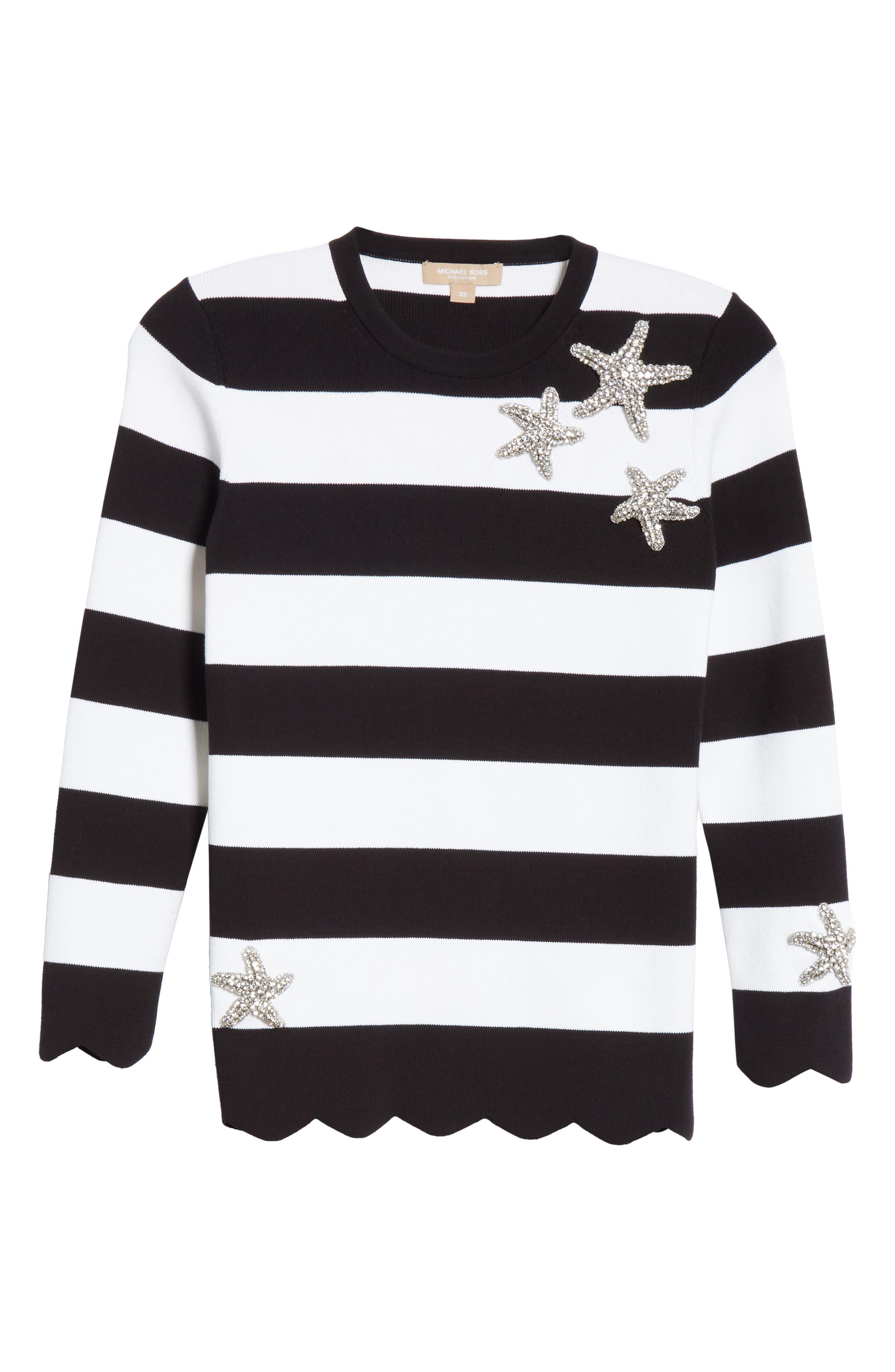 Starfish Embellished Scallop Hem Sweater,                             Alternate thumbnail 7, color,                             BLACK/ WHITE