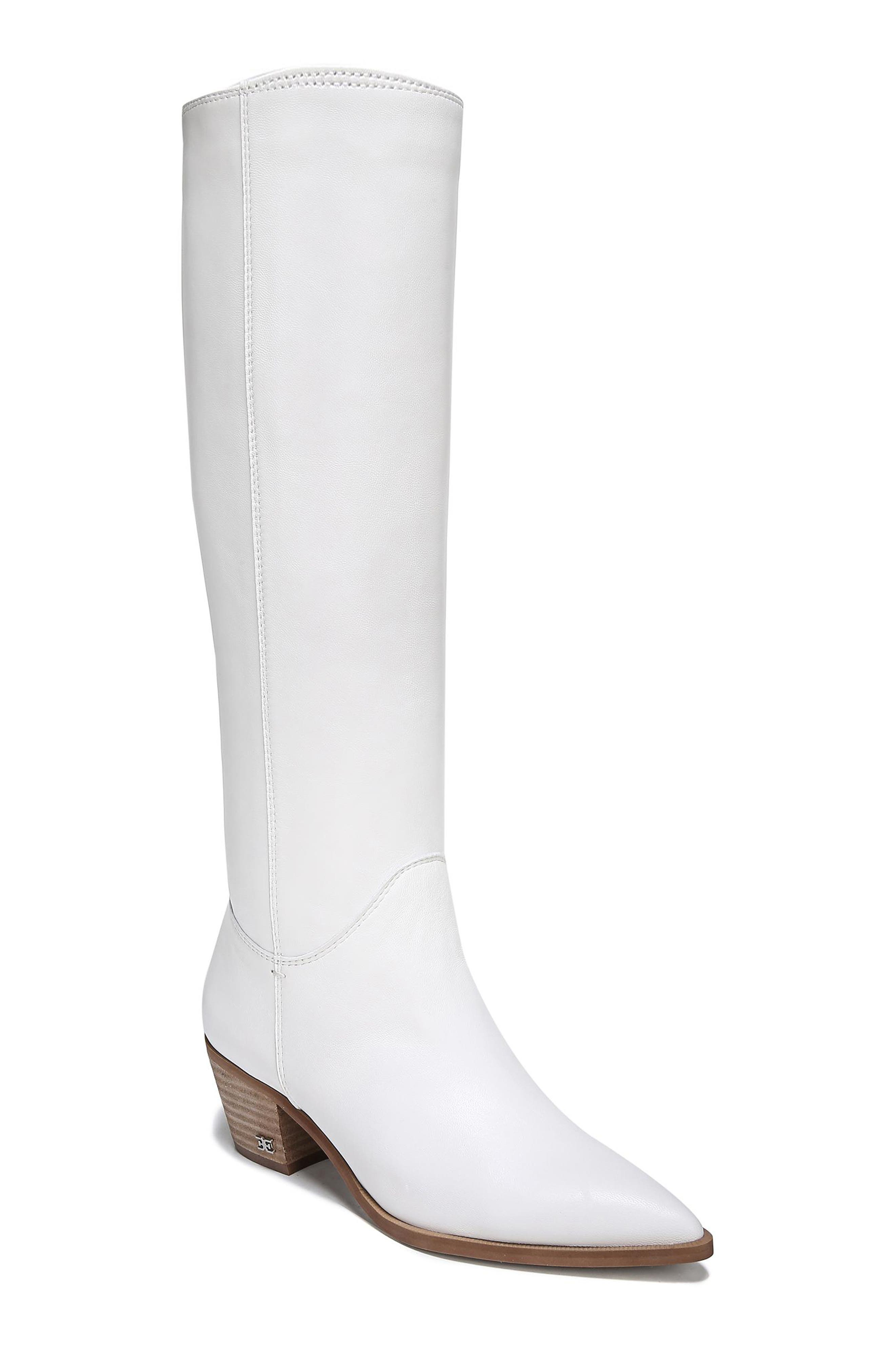 Women'S Rowena Tall Slouchy Leather Boots in Bright White Nappa Leather