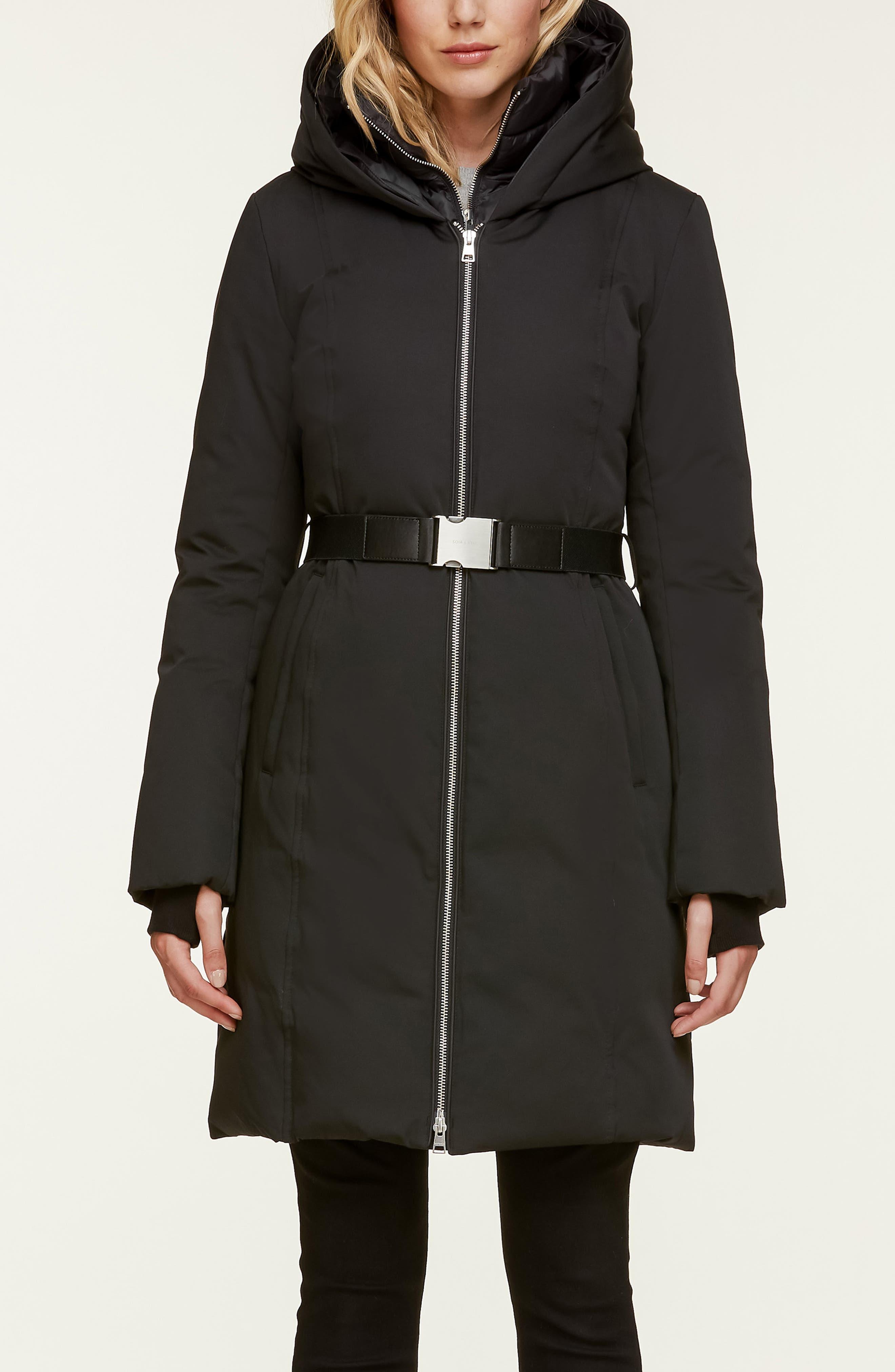Slim Fit Water Resistant Down Jacket with Genuine Fox Fur Trim,                             Alternate thumbnail 3, color,                             BLACK