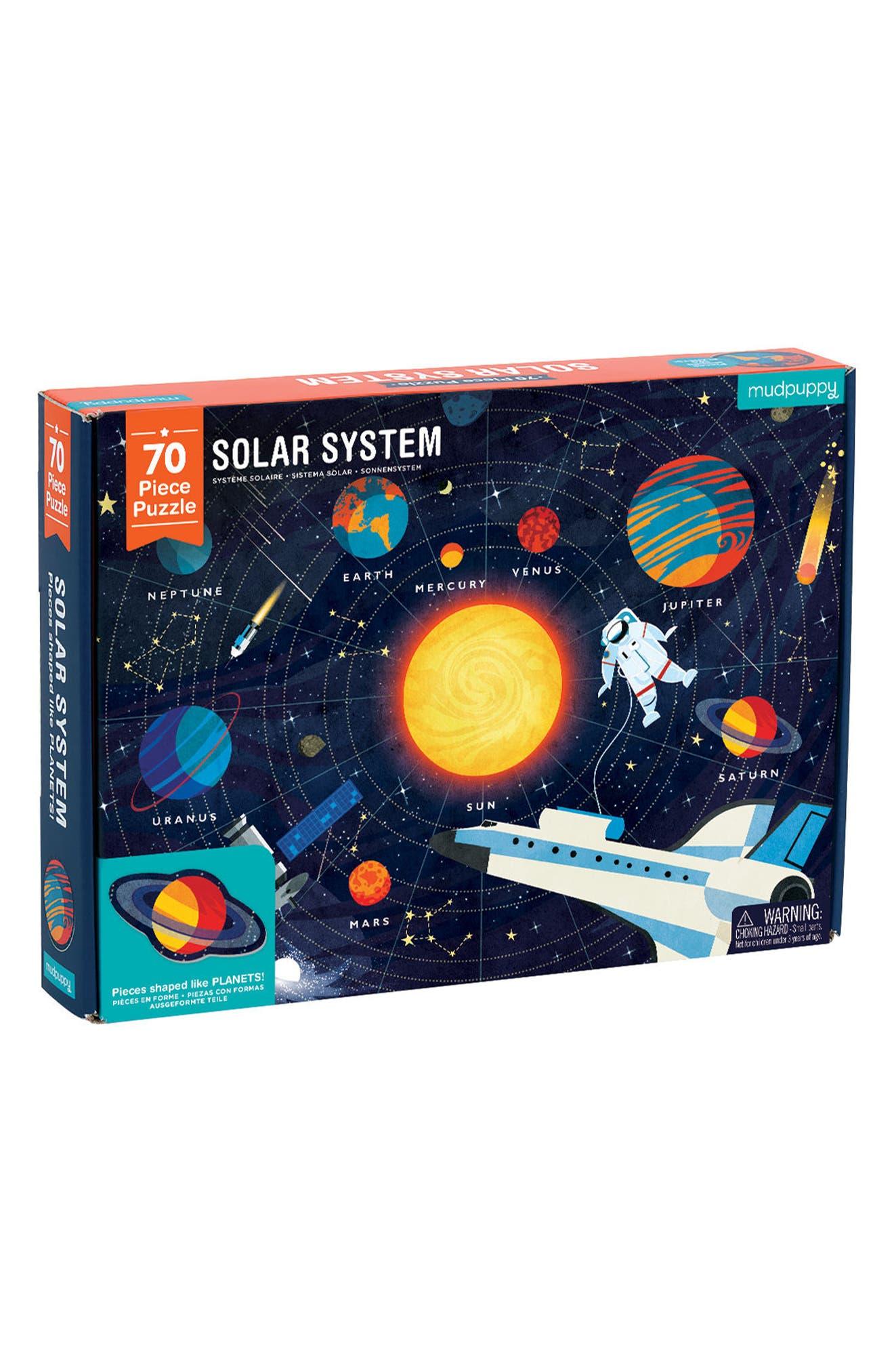 70-Piece Solar System Puzzle,                         Main,                         color, BLUE