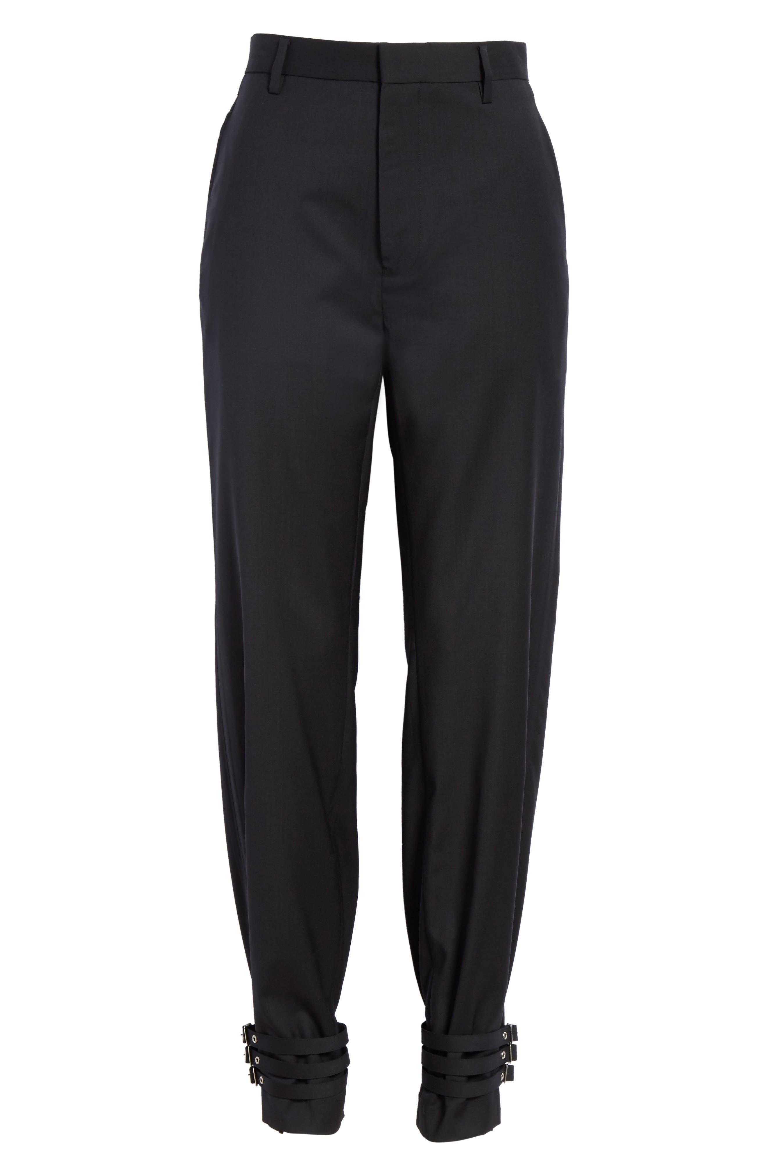 Adjustable Hem Wool & Silk Pants,                             Alternate thumbnail 6, color,                             001