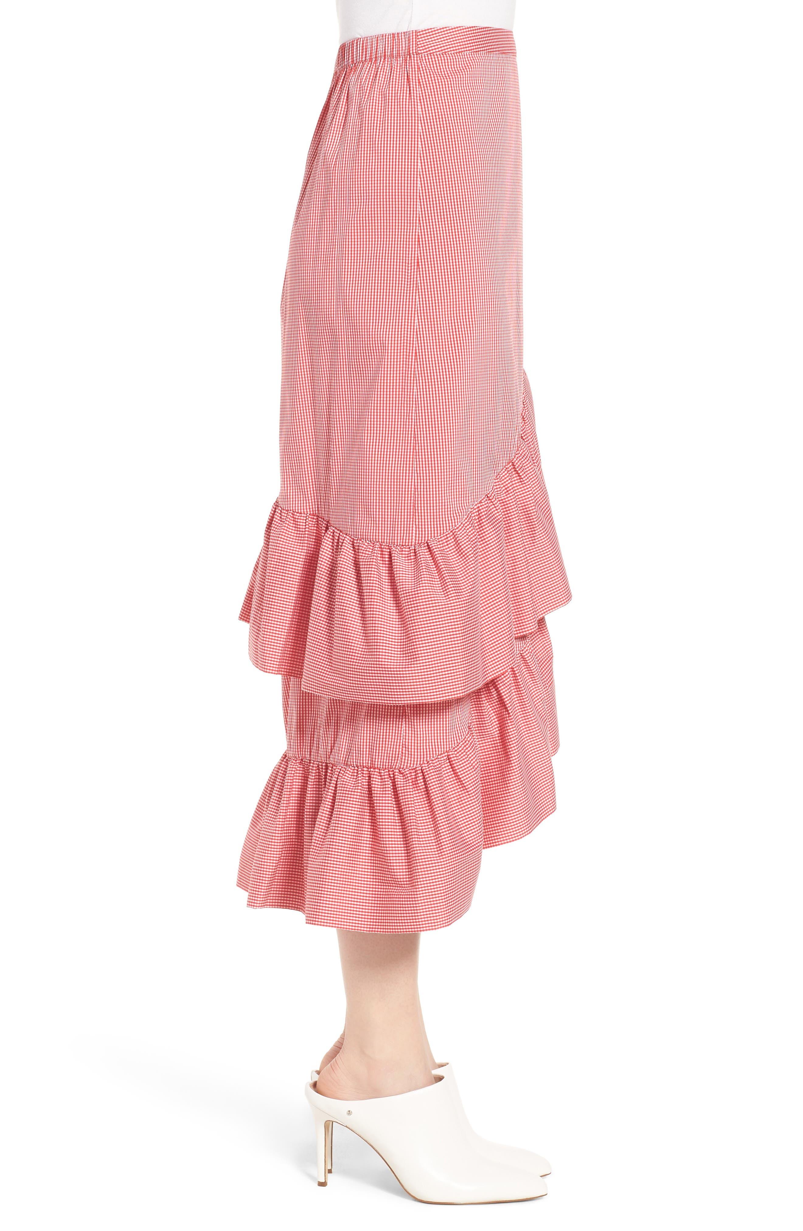 Gingham Ruffle Skirt,                             Alternate thumbnail 6, color,