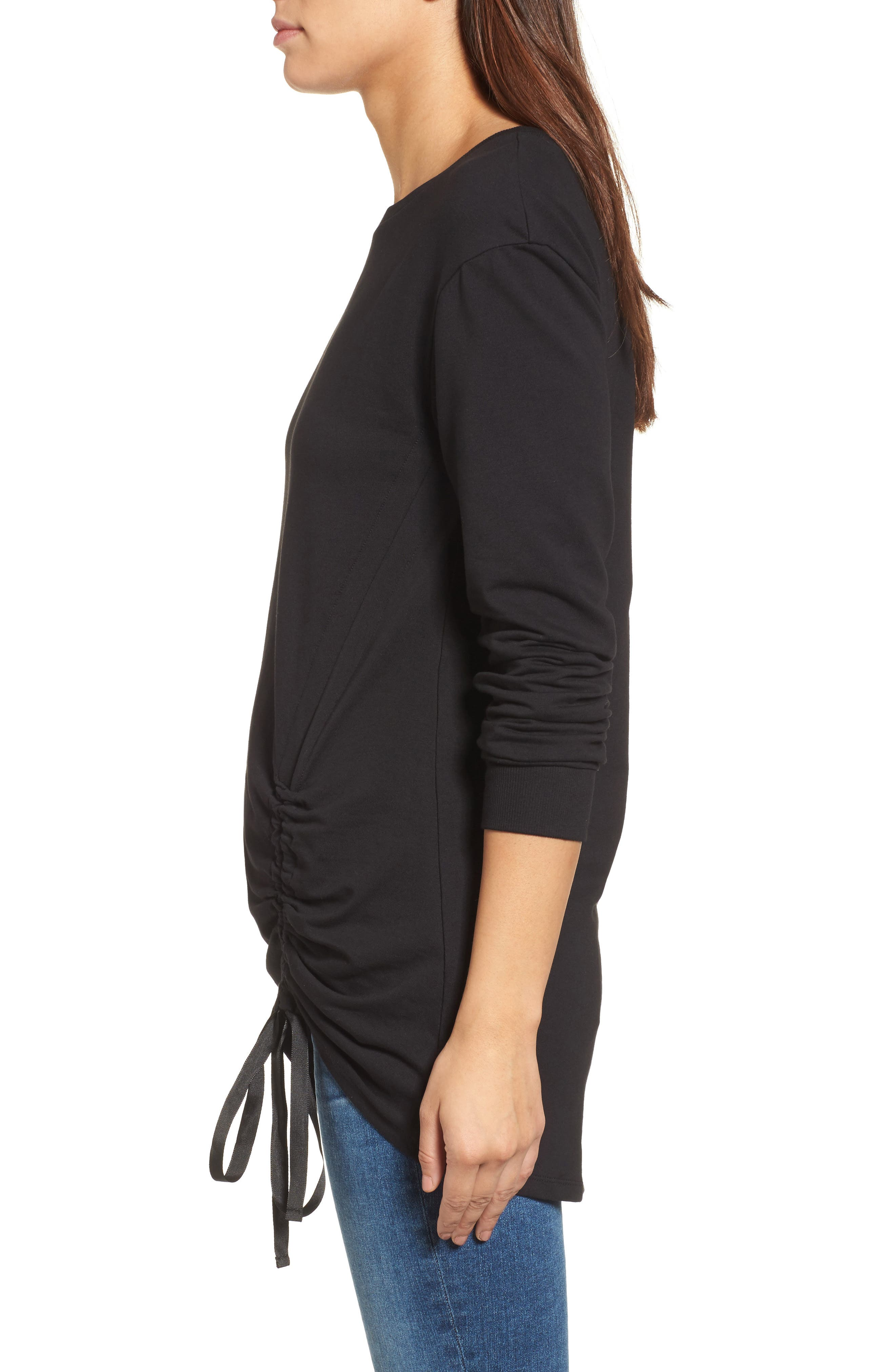 Ruched Front Tunic Sweatshirt,                             Alternate thumbnail 7, color,
