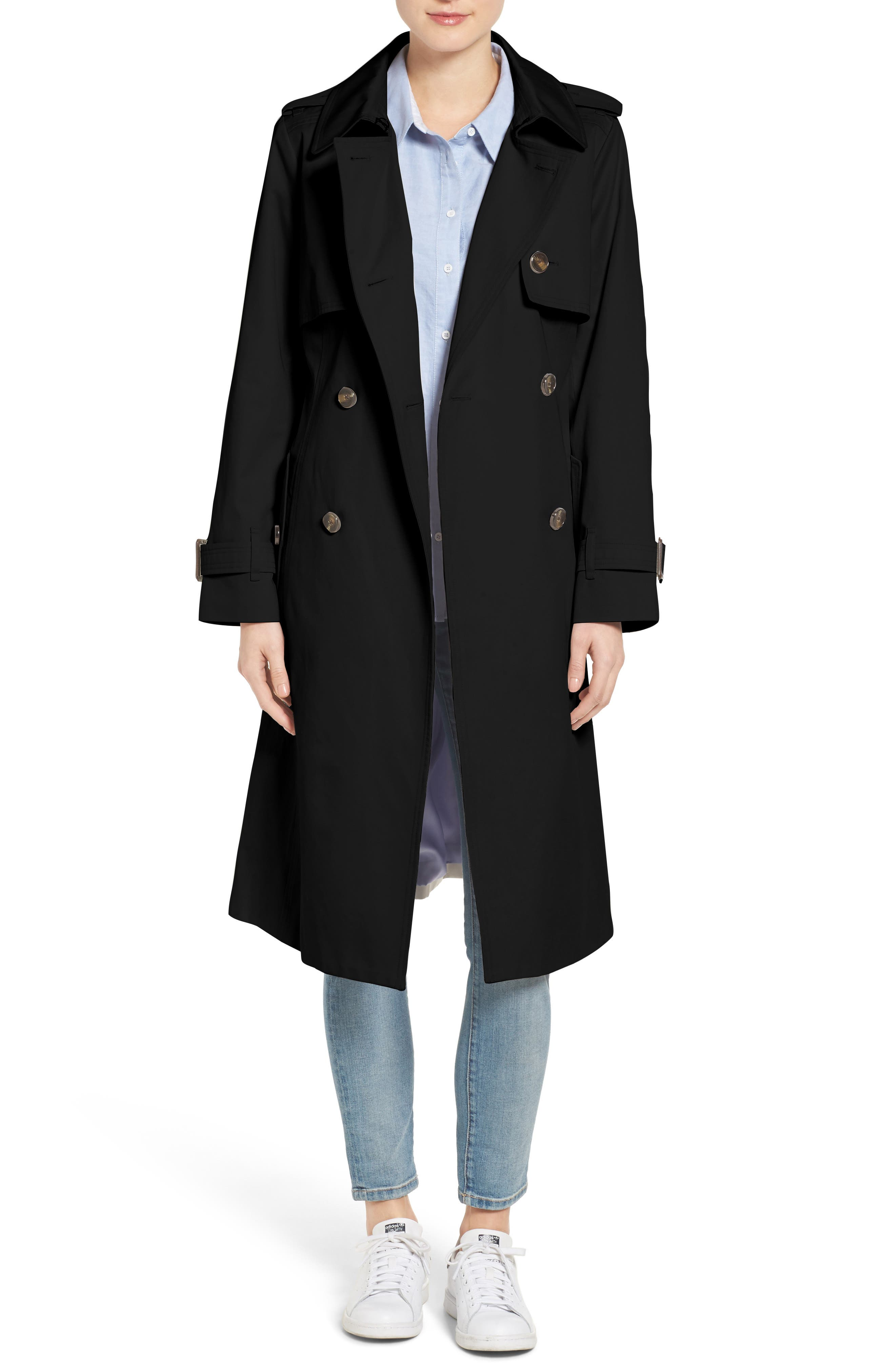 Double Breasted Trench Coat,                             Main thumbnail 1, color,                             001