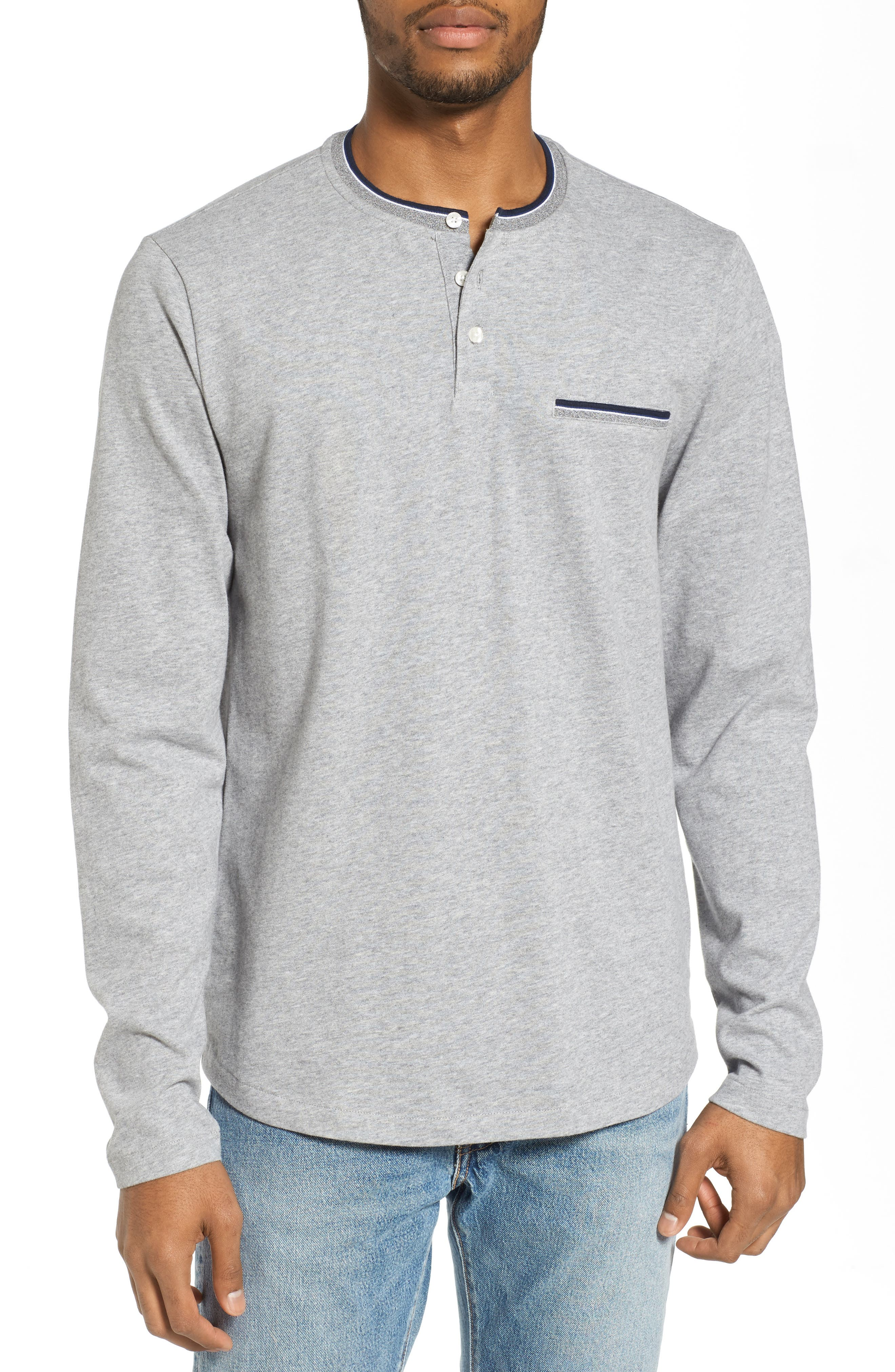 Sueded Tipped Henley,                         Main,                         color, 055