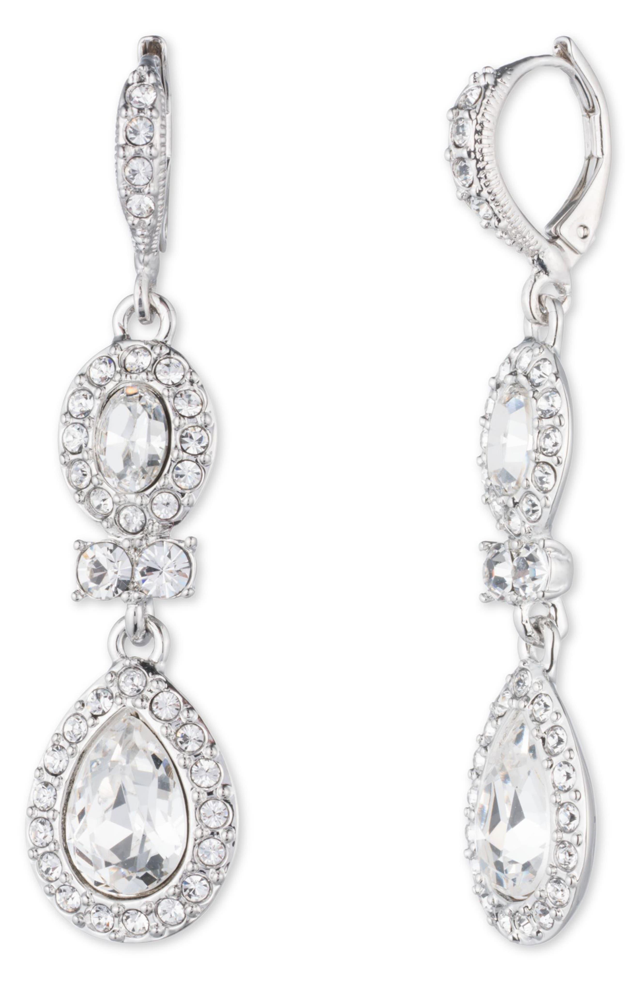 Pear Double Drop Earrings,                             Main thumbnail 1, color,                             040