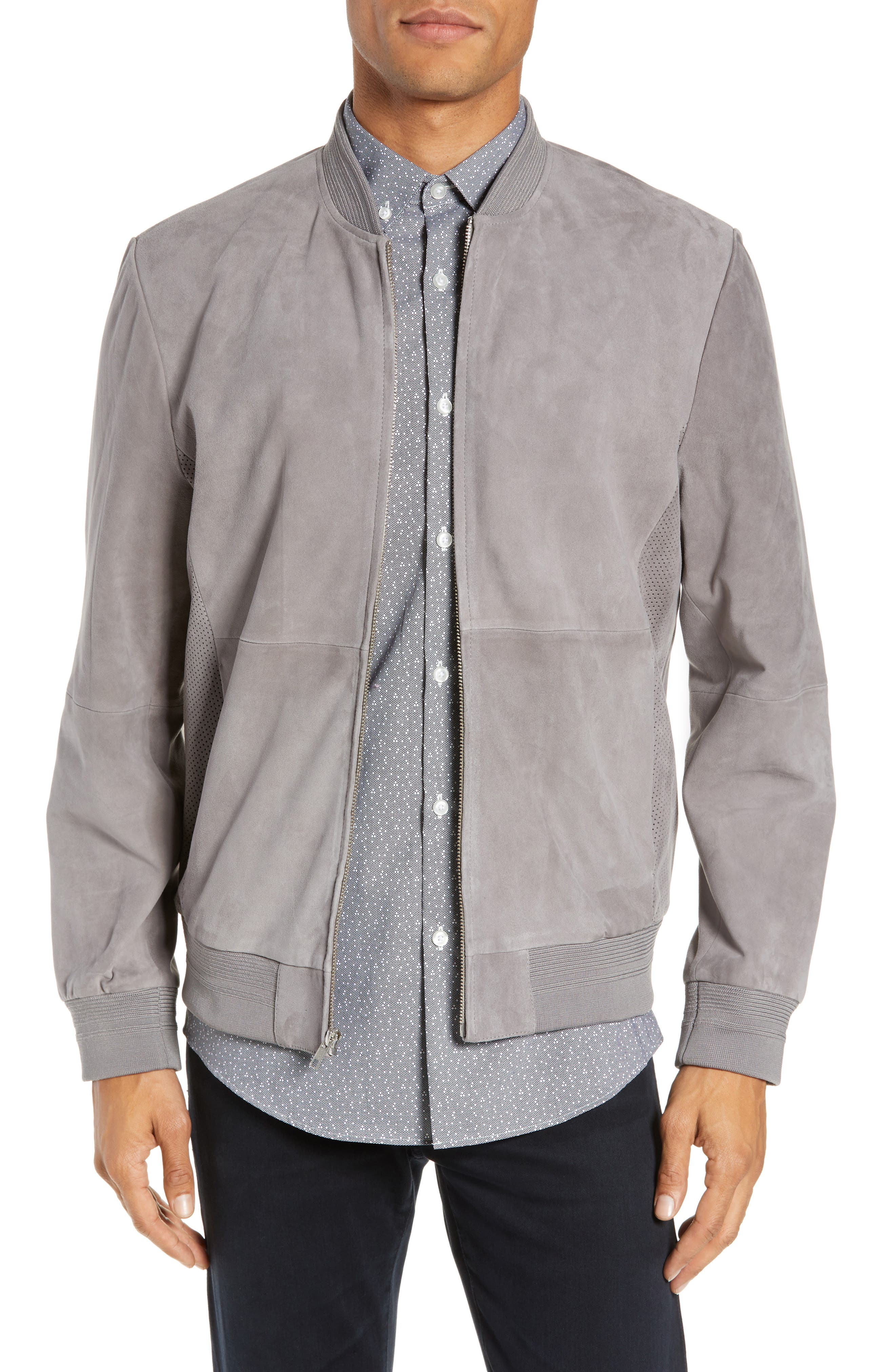 Suede Bomber Jacket,                             Main thumbnail 1, color,                             030