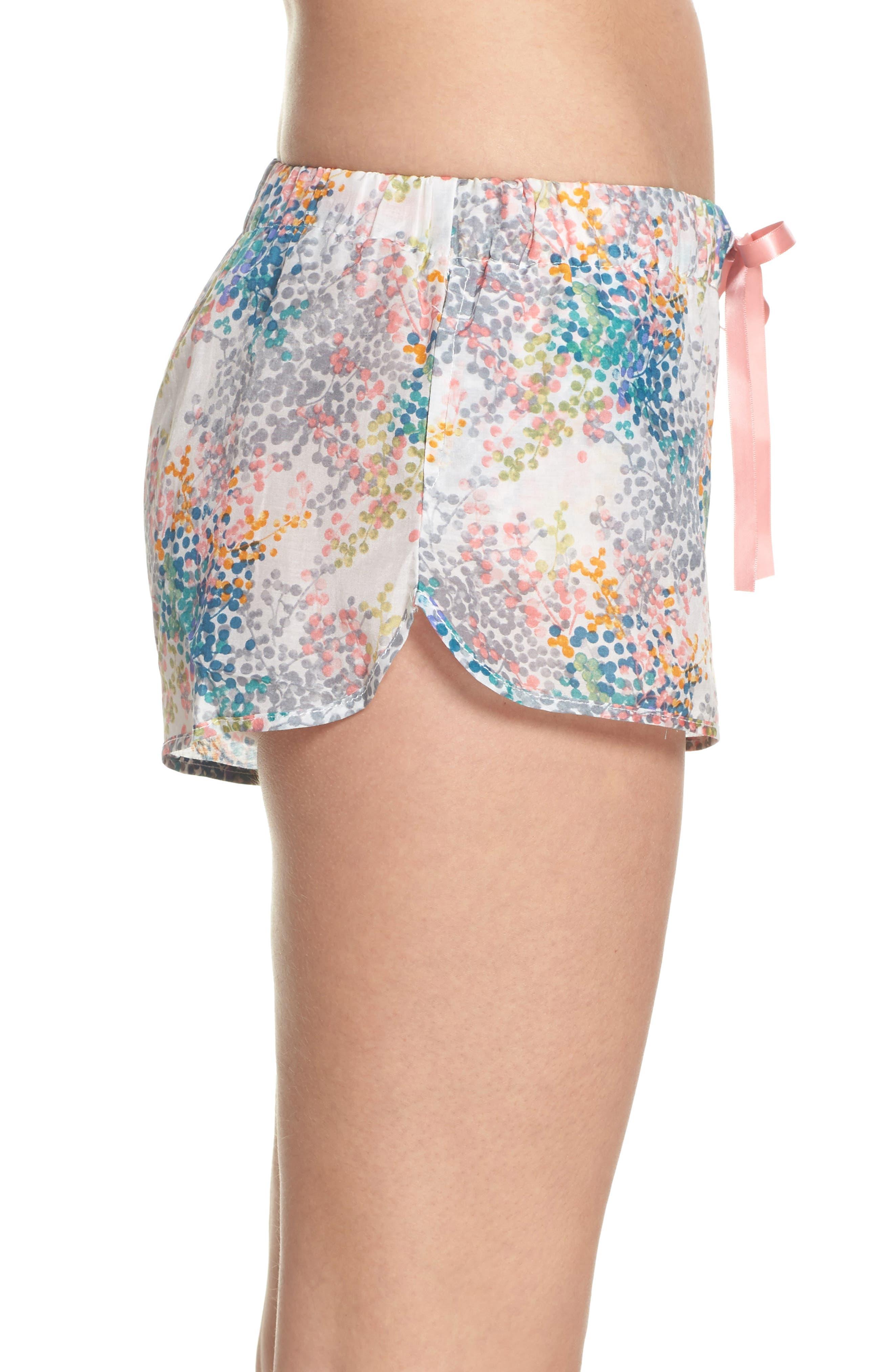 Bouquet Pajama Shorts,                             Alternate thumbnail 3, color,                             BLUE GREEN