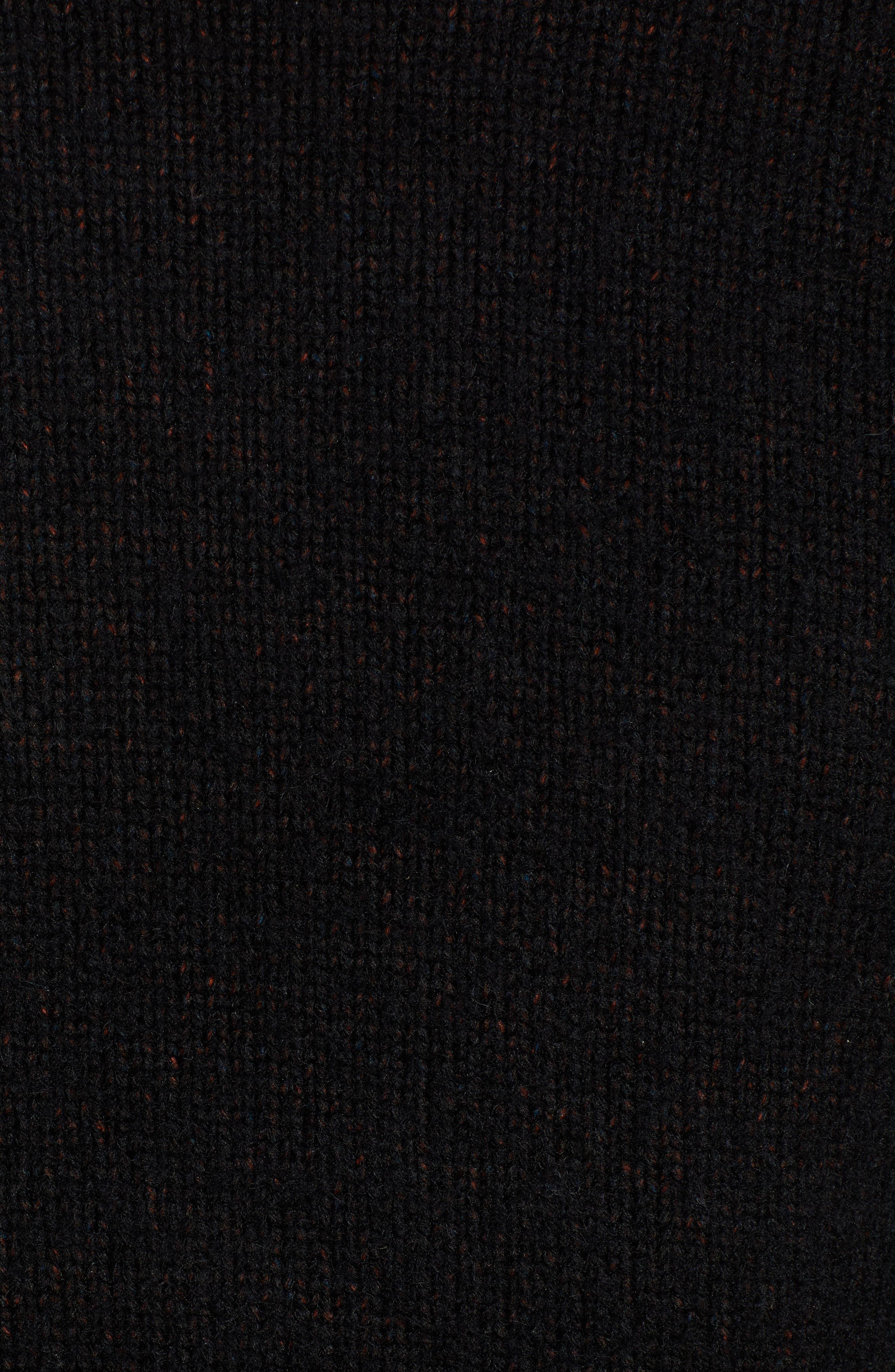 Chunky Crewneck Sweater,                             Alternate thumbnail 5, color,                             BLACK CAVIAR TWIST