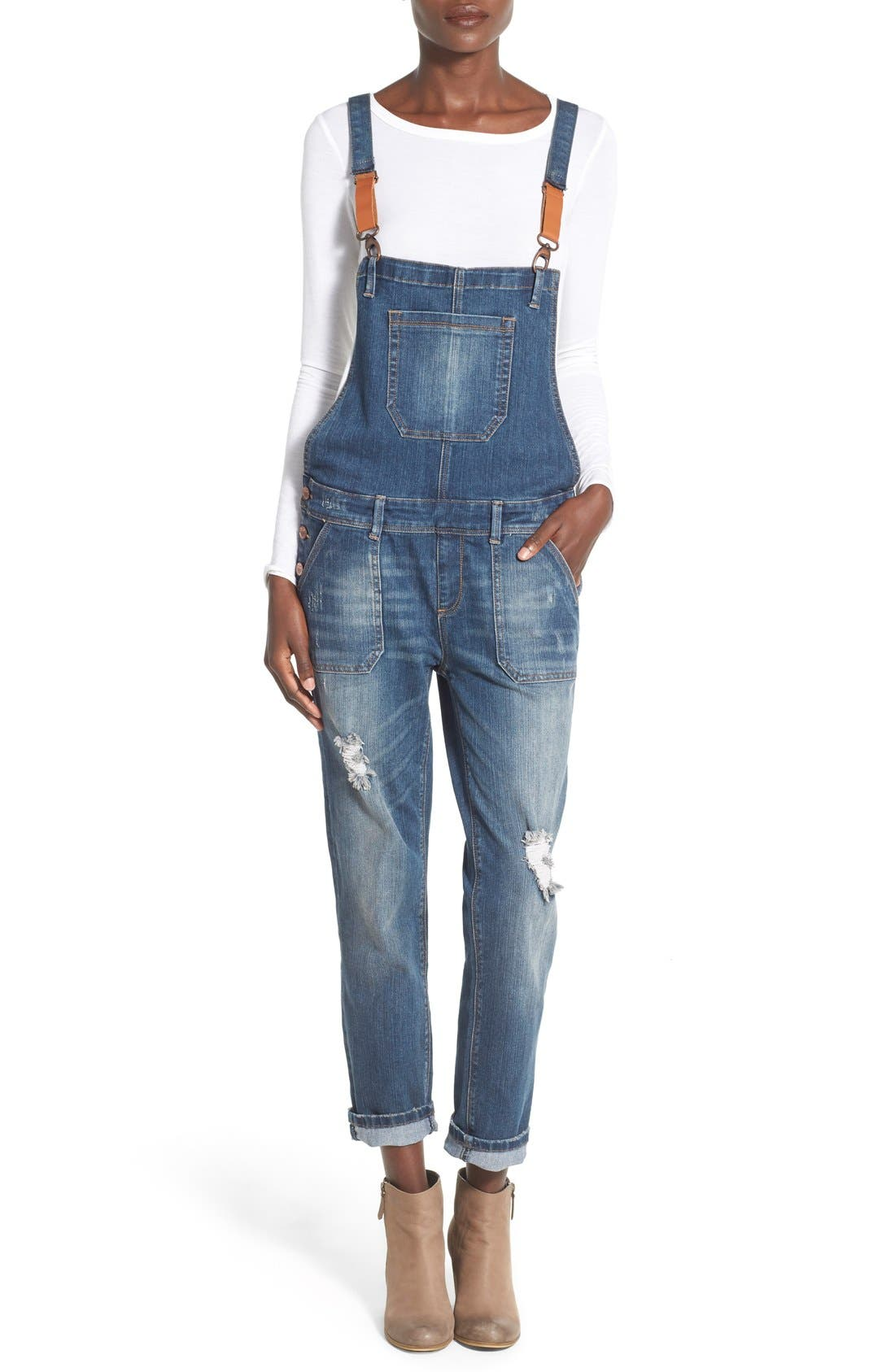 'Daryl' Distressed Denim Overalls,                             Main thumbnail 1, color,