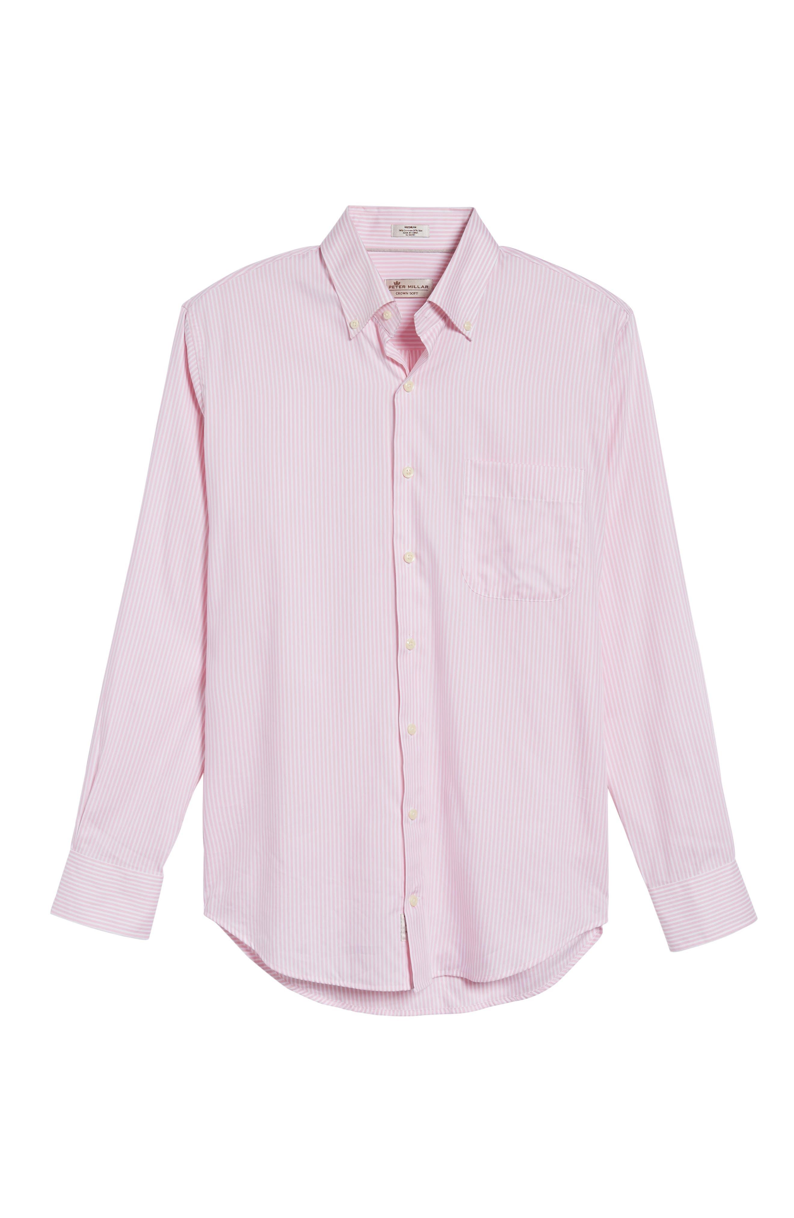 Classic Fit Crown Soft Longshot Stripe Sport Shirt,                             Alternate thumbnail 12, color,