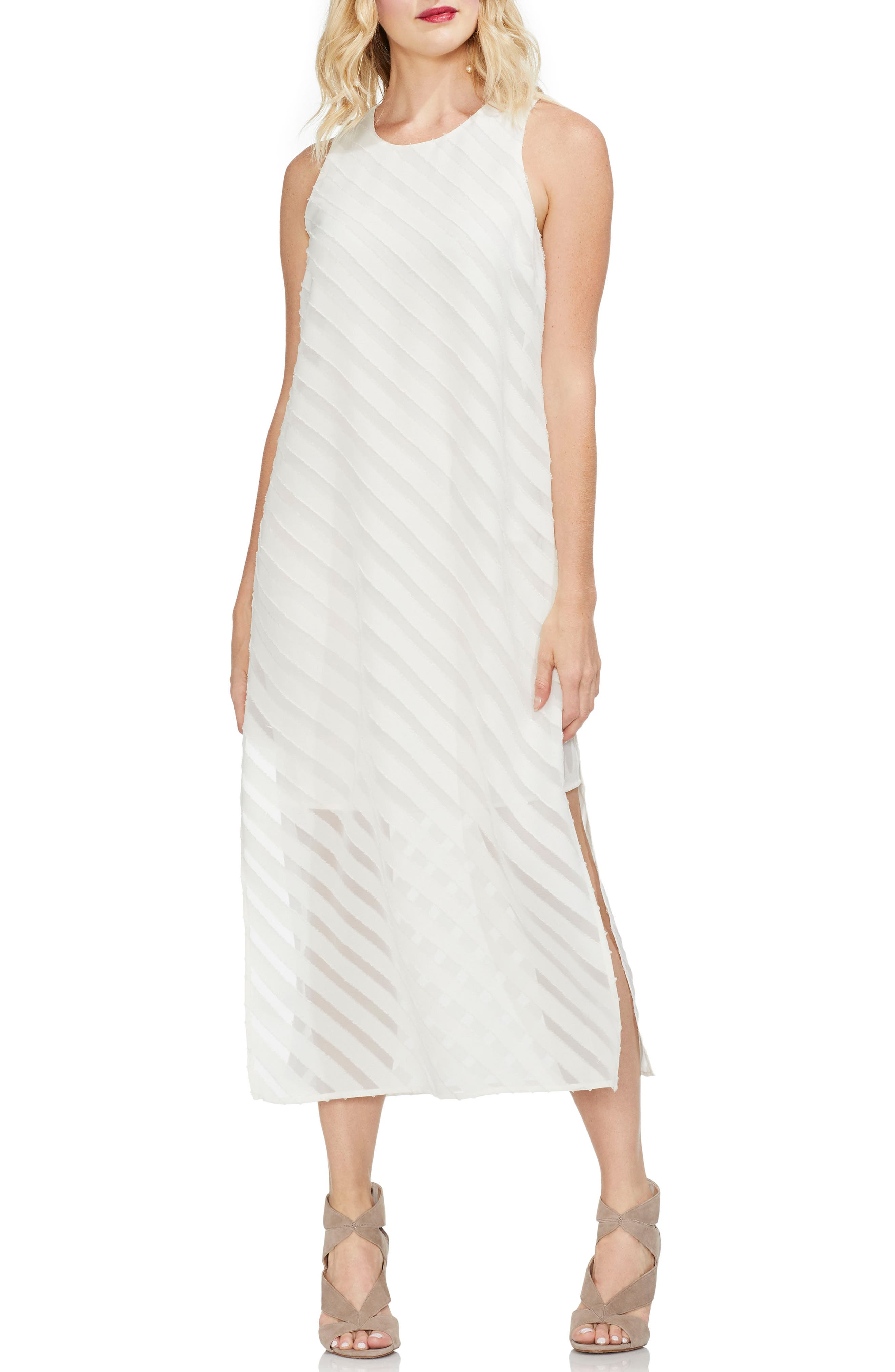 Vince Camuto Diagonal Stripe Chiffon Maxi Dress, Ivory