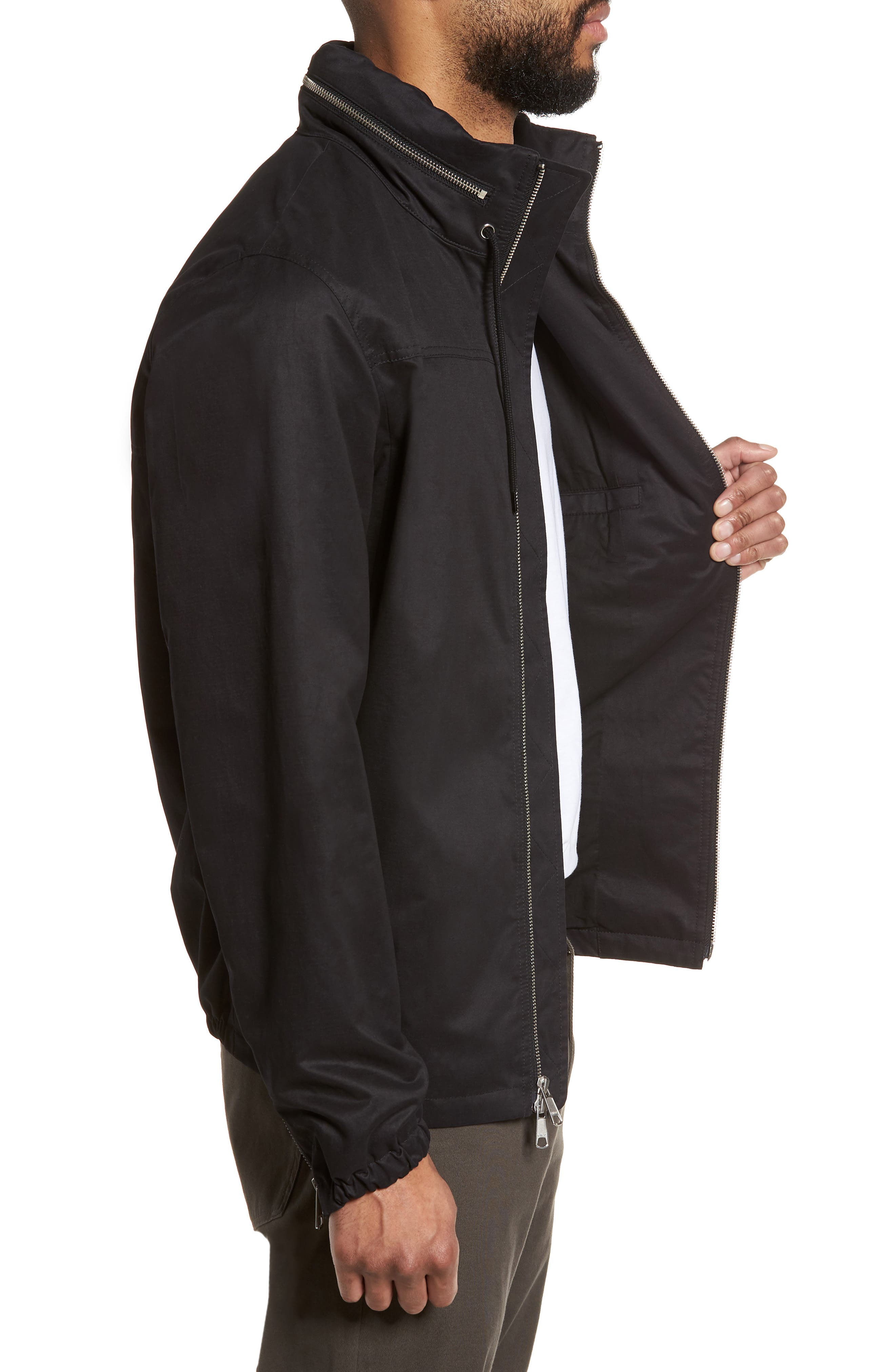 Regular Fit Hooded Jacket,                             Alternate thumbnail 3, color,                             001