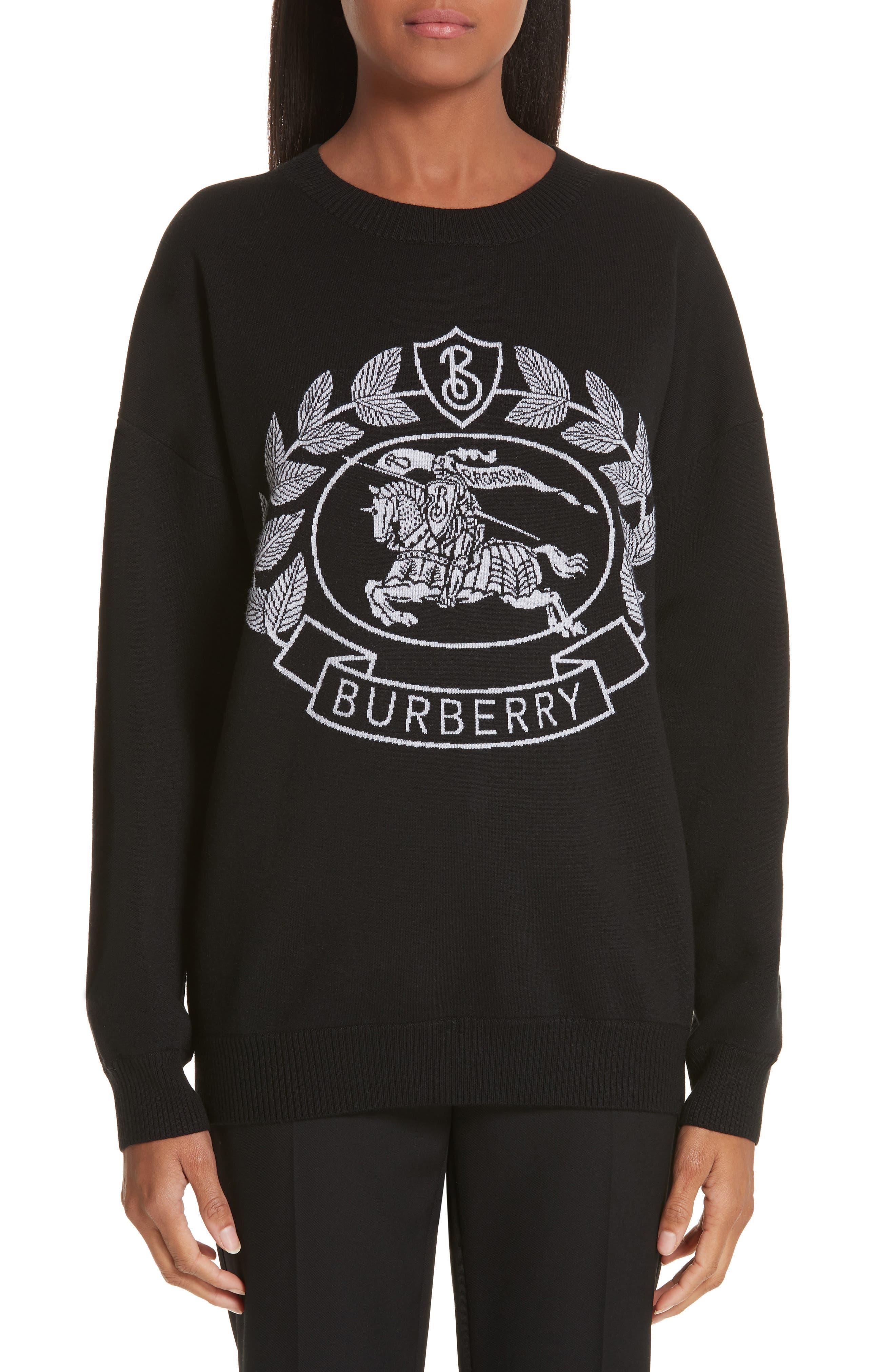 Burberry Bilston Logo Jacquard Merino Wool Blend Sweater, Black