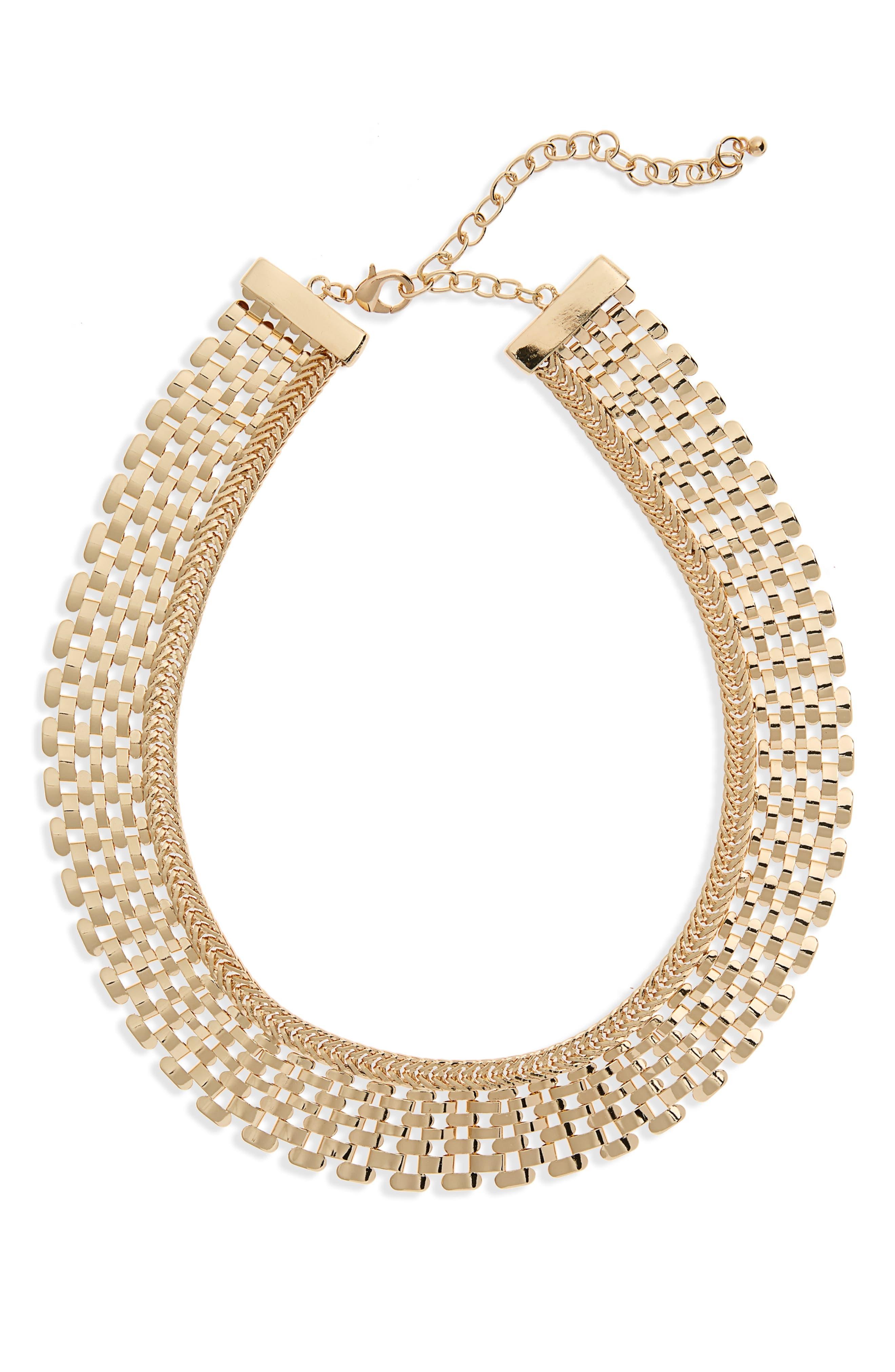Metal Collar Necklace,                         Main,                         color, 710