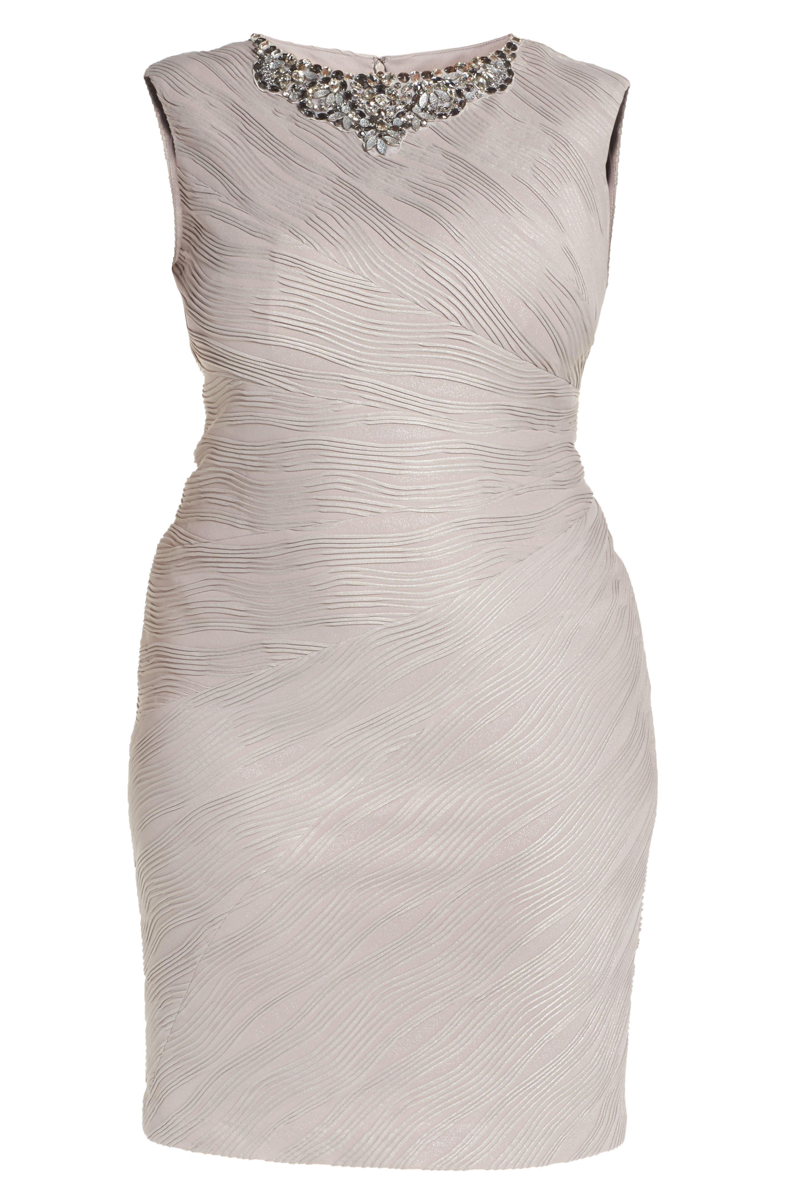 Embellished Neckline Sheath Dress,                             Alternate thumbnail 6, color,                             256