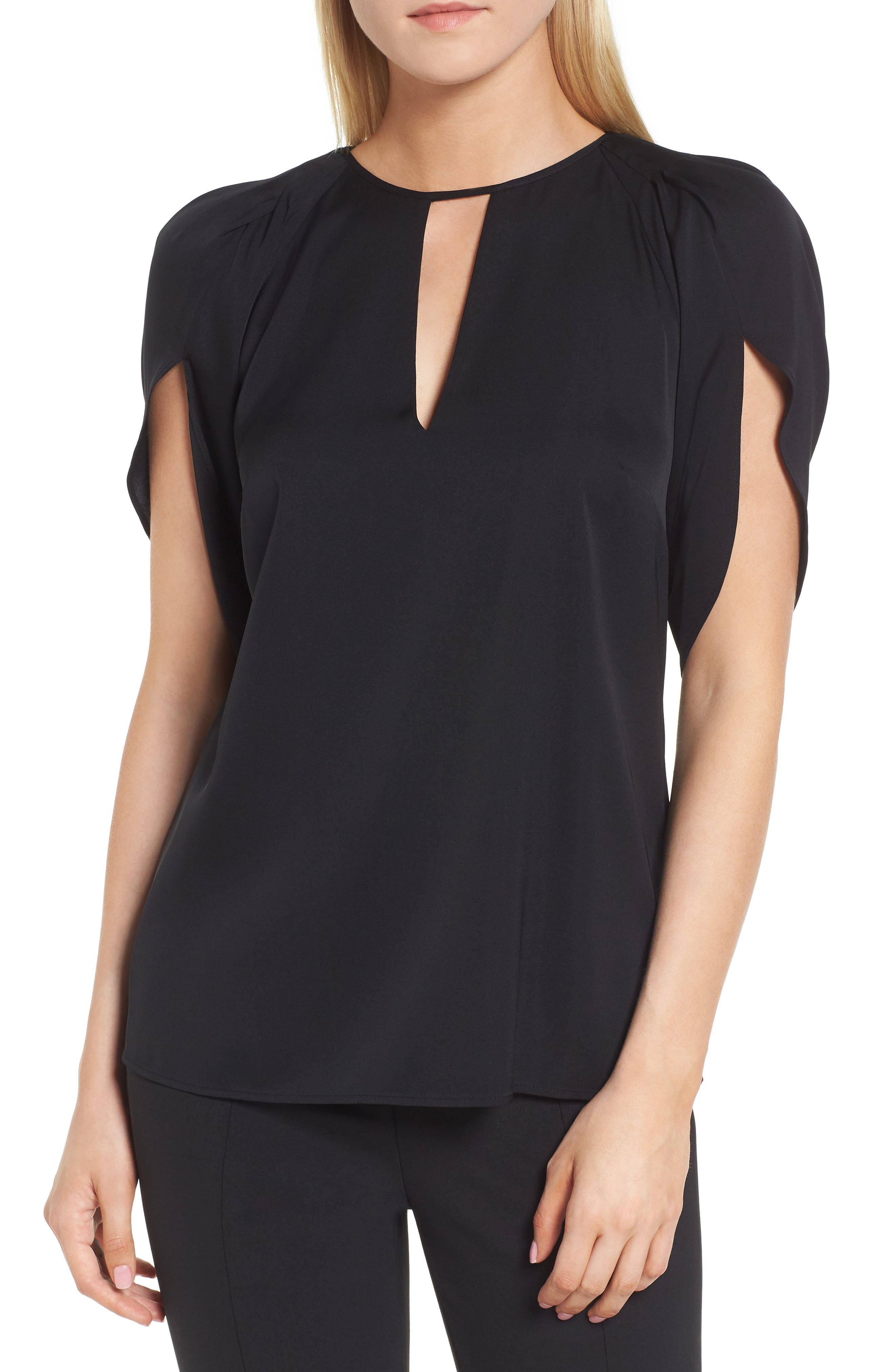 Draped Sleeve Stretch Silk Top,                         Main,                         color, 001