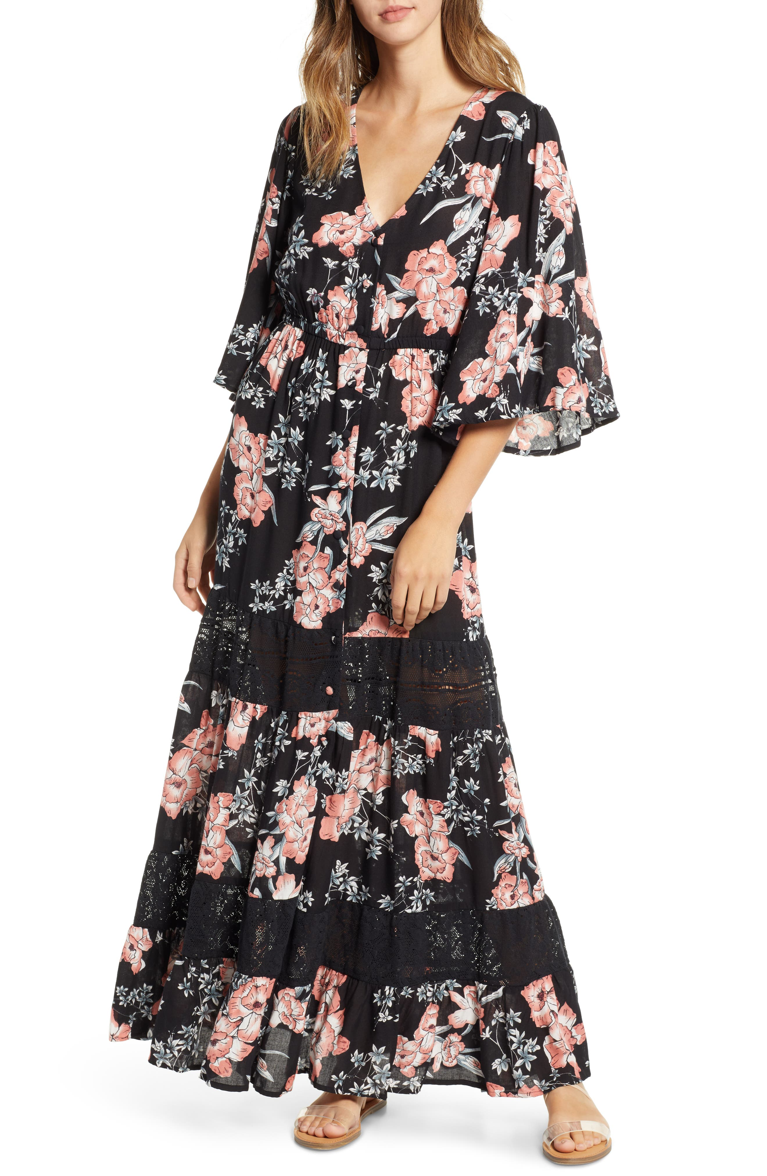 Rip Curl Nalu Lace Inset Maxi Dress, Black