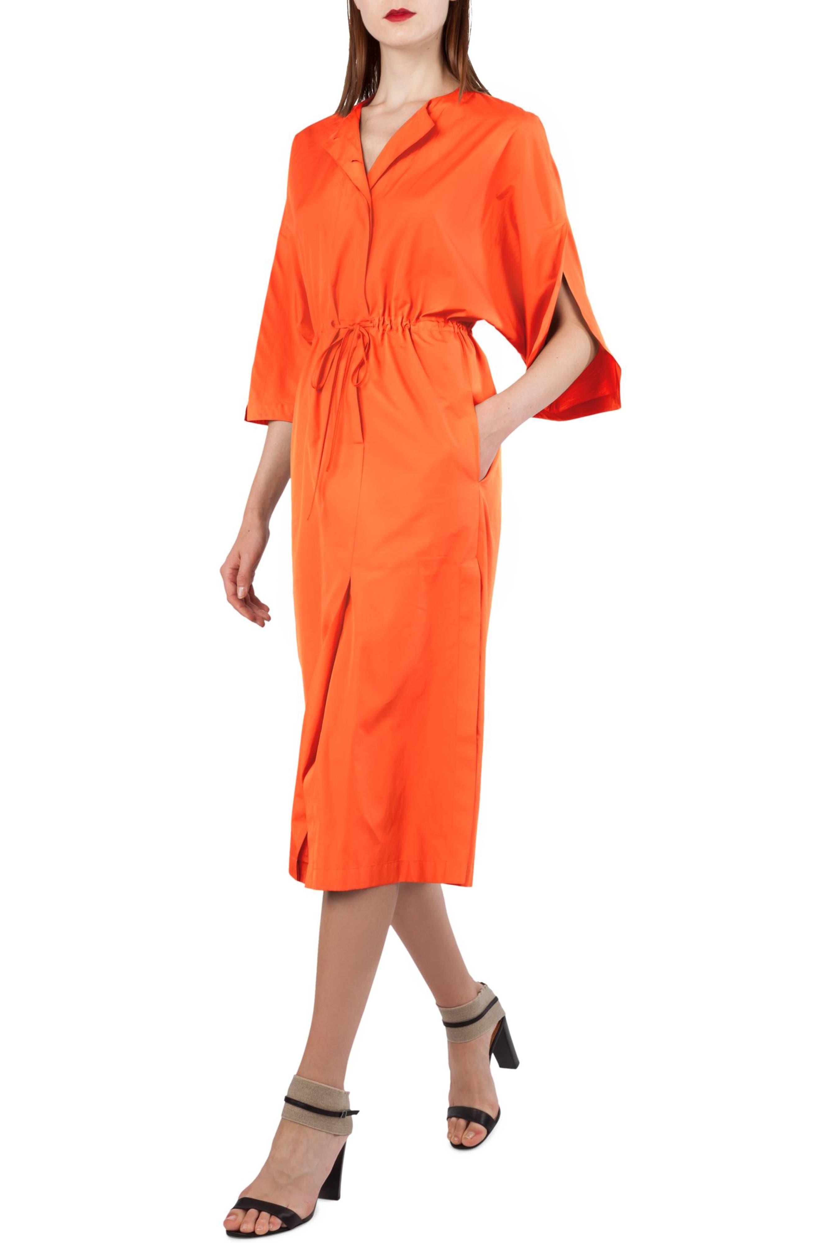 Kimono Sleeve Cotton Poplin Dress,                             Alternate thumbnail 3, color,