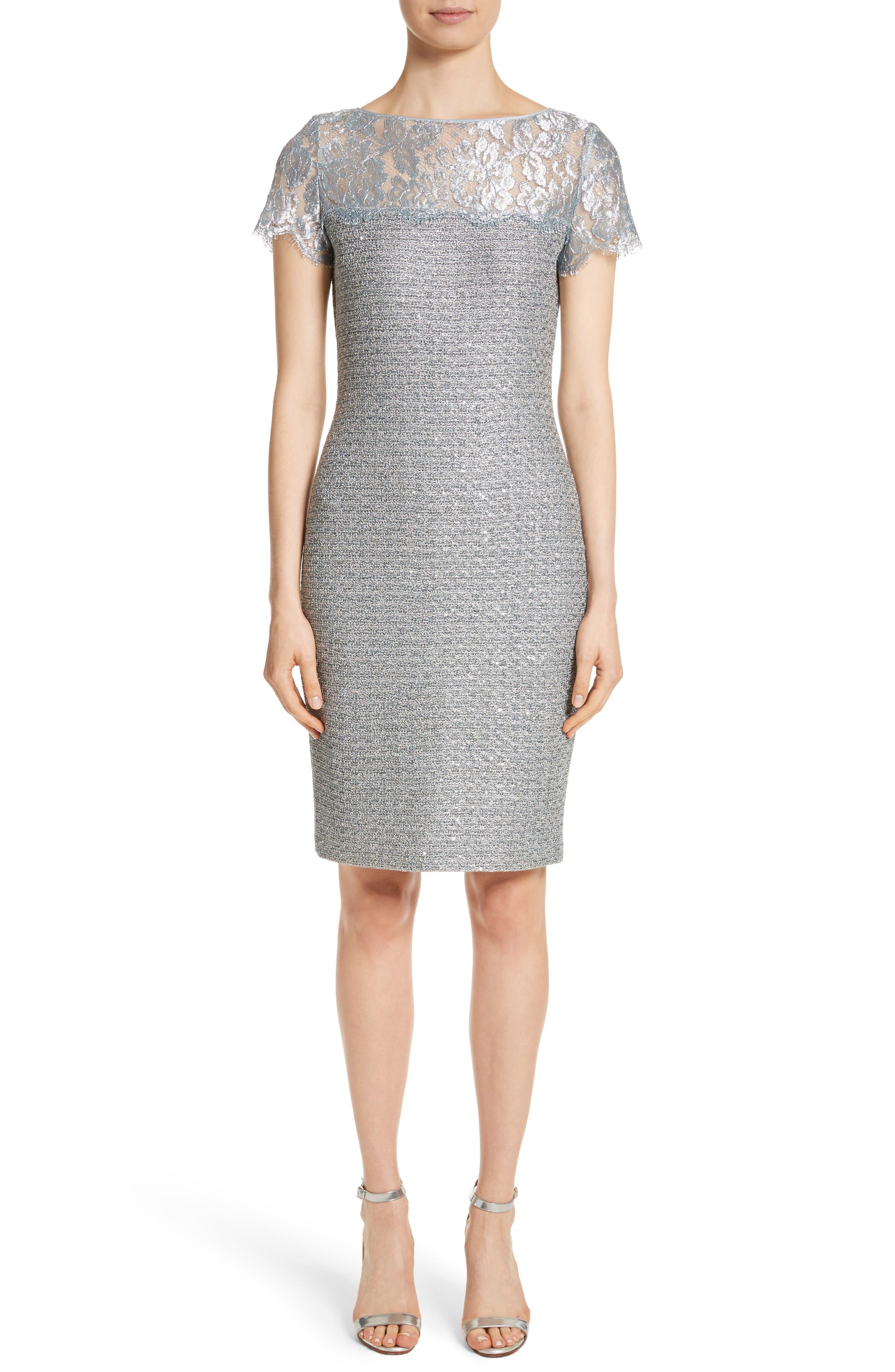 Metallic Sequin Knit Dress,                         Main,                         color,