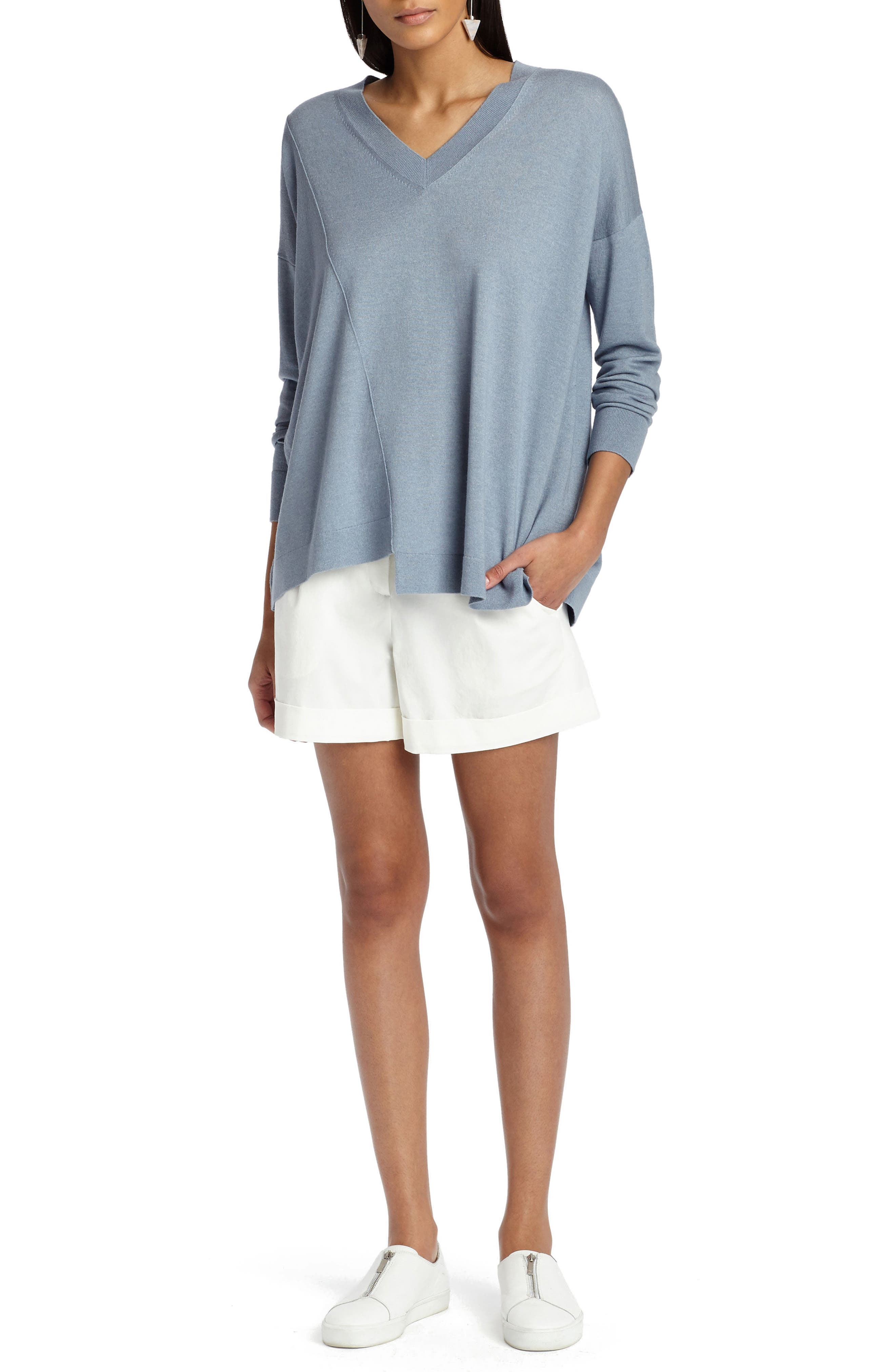 Asymmetrical Cashmere & Silk Blend Sweater,                             Alternate thumbnail 5, color,