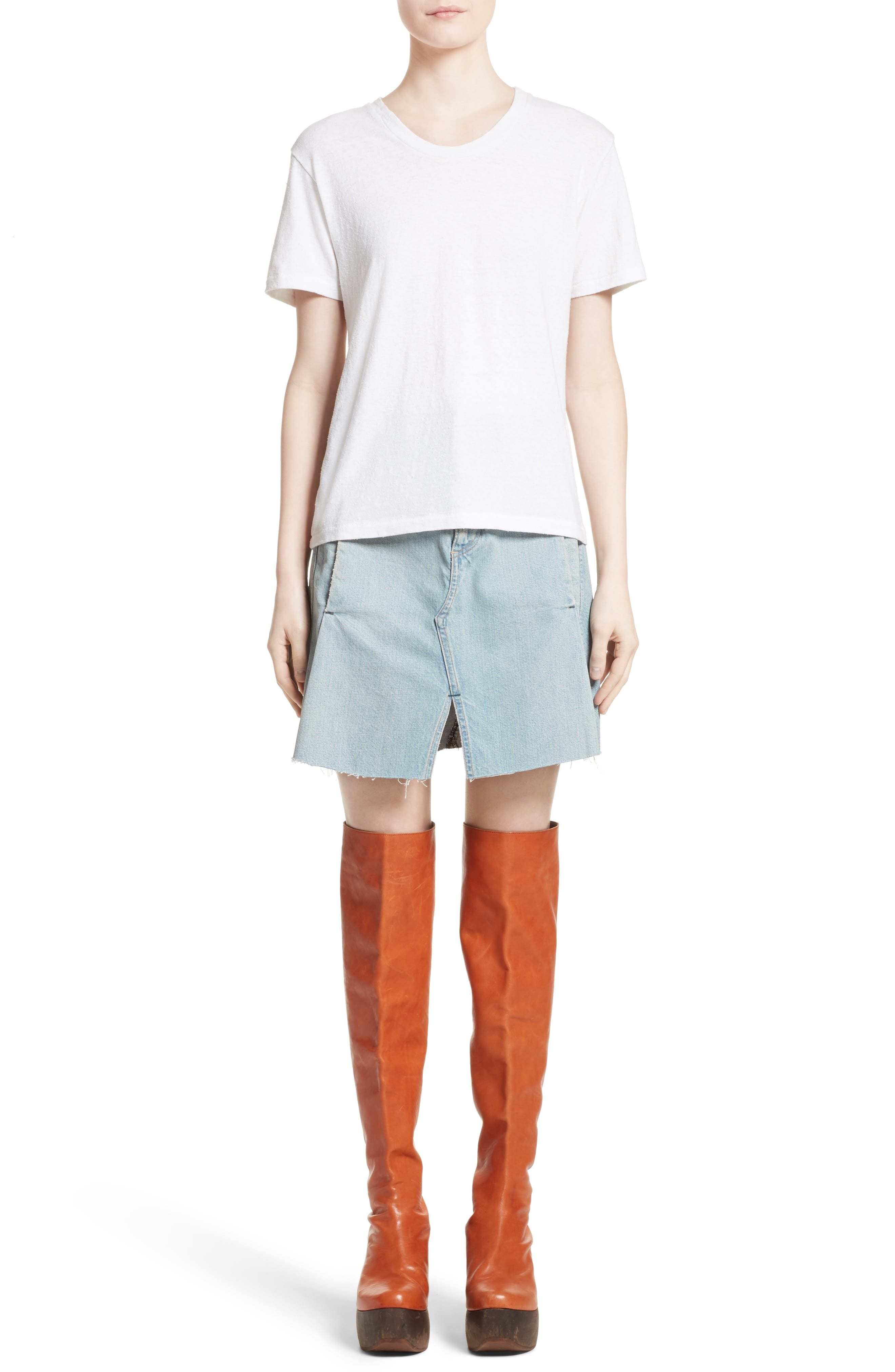 Denim Skirt,                             Alternate thumbnail 6, color,                             400