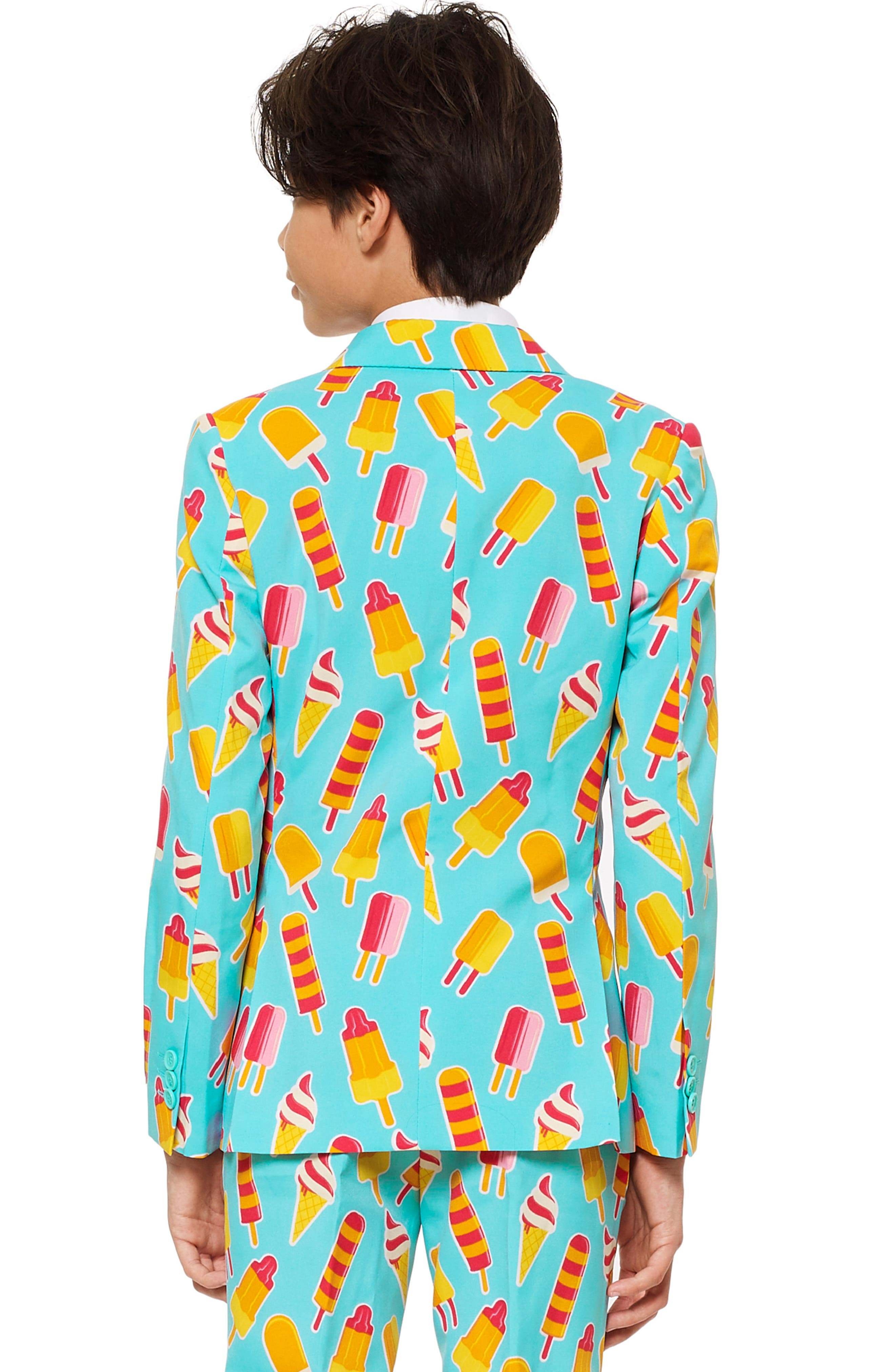 Cool Cones Two-Piece Suit with Tie,                             Alternate thumbnail 2, color,                             BLUE/ GREEN