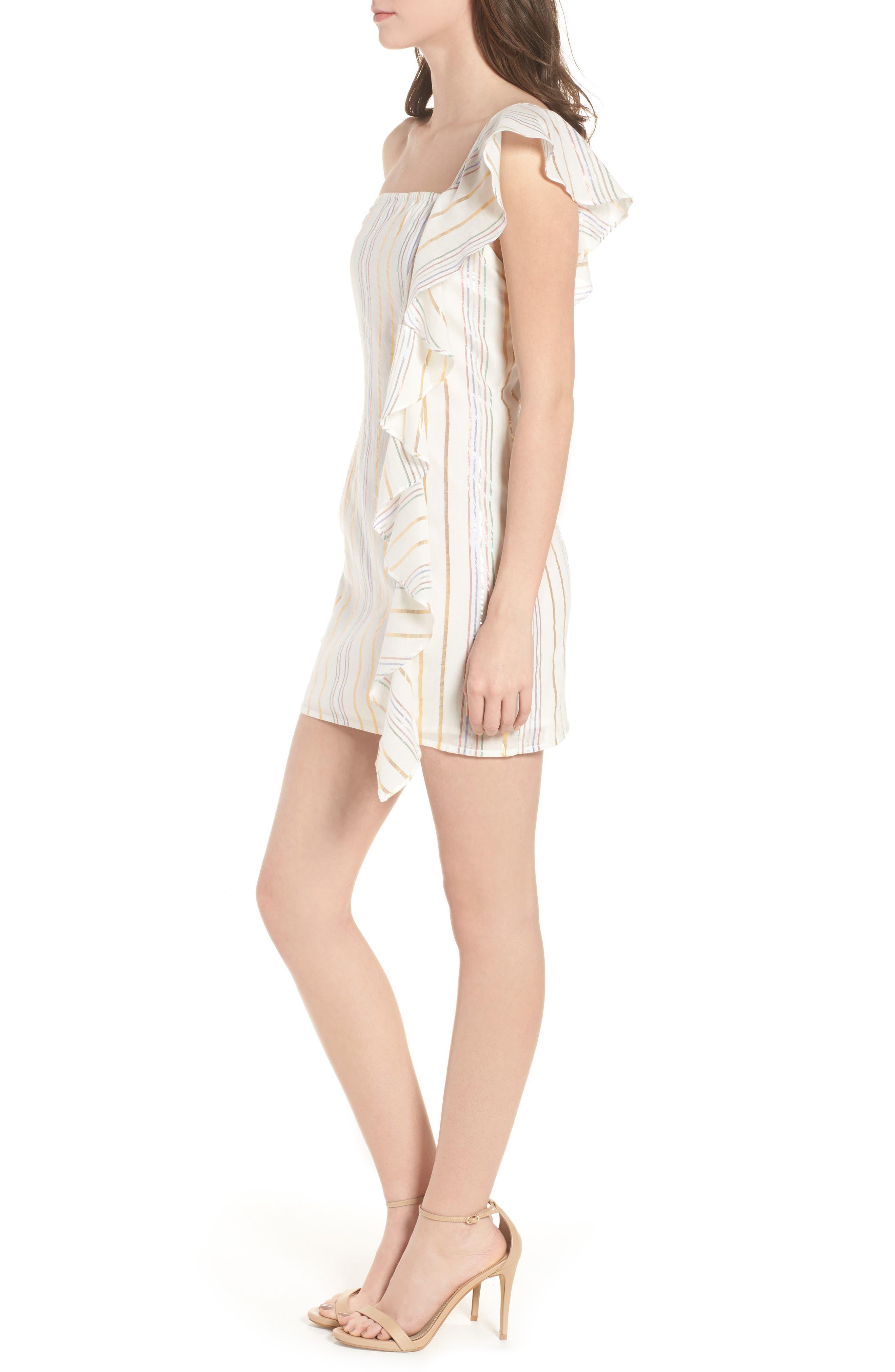 Cait One-Shoulder Sheath Dress,                             Alternate thumbnail 3, color,                             111