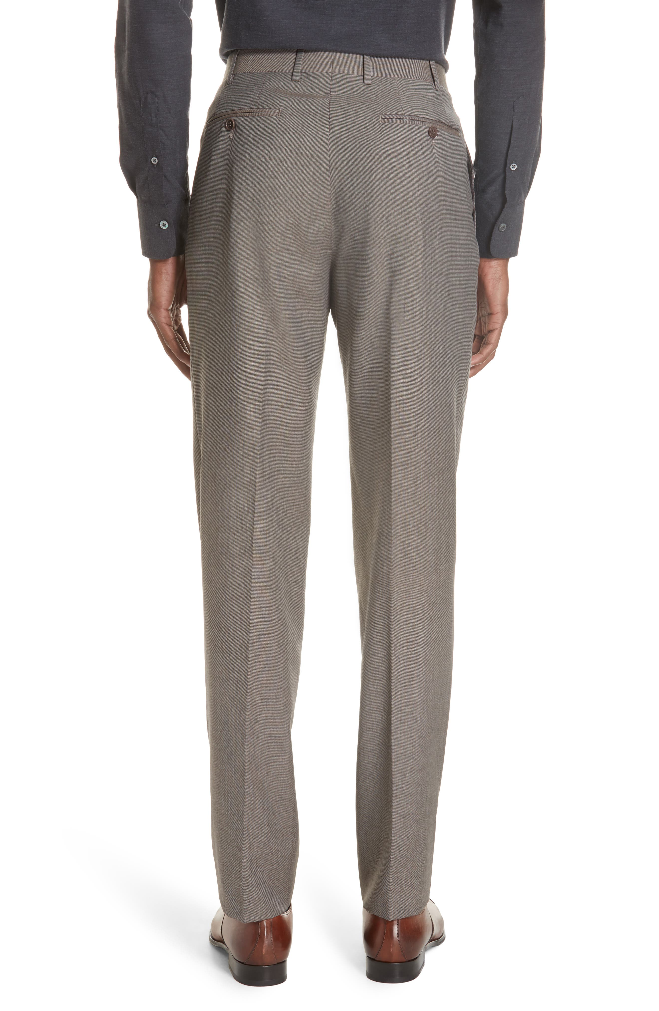 Micro Dot Regular Fit Flat Front Wool Trousers,                             Alternate thumbnail 4, color,