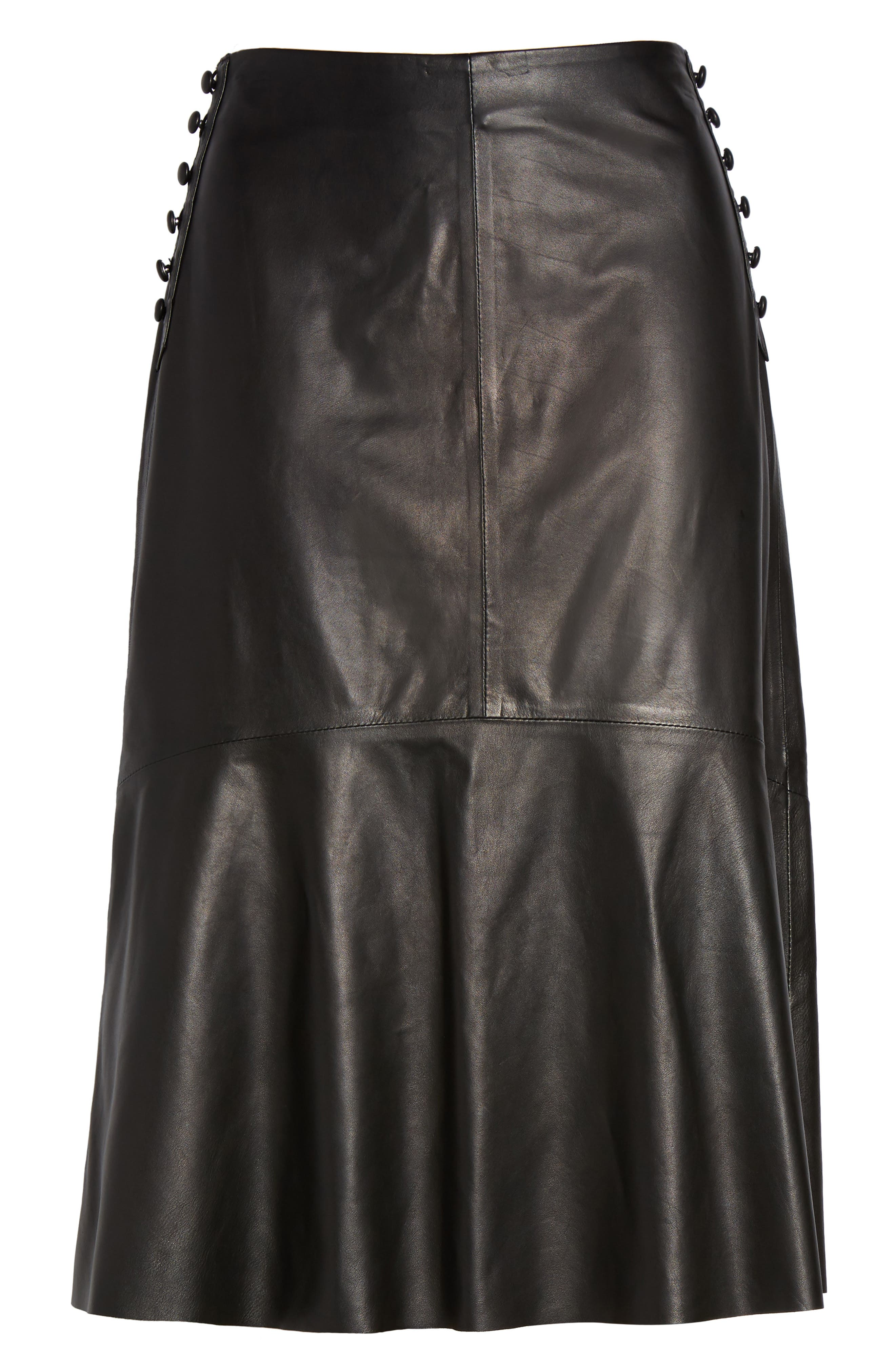 Button Detail A-Line Leather Skirt,                             Alternate thumbnail 6, color,                             001