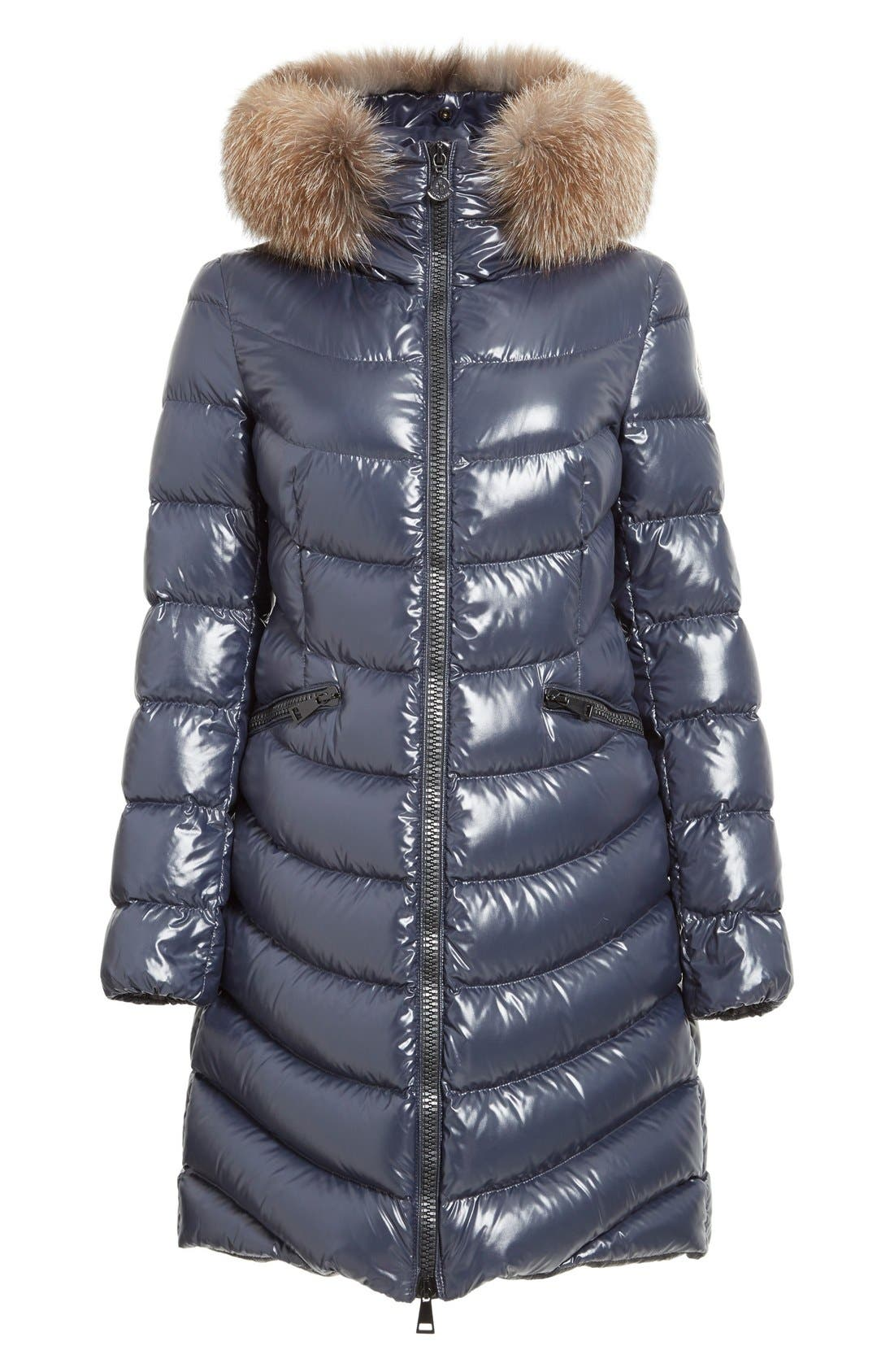 'Aphia' Water Resistant Shiny Nylon Down Puffer Coat with Removable Genuine Fox Fur Trim,                             Alternate thumbnail 6, color,                             NAVY