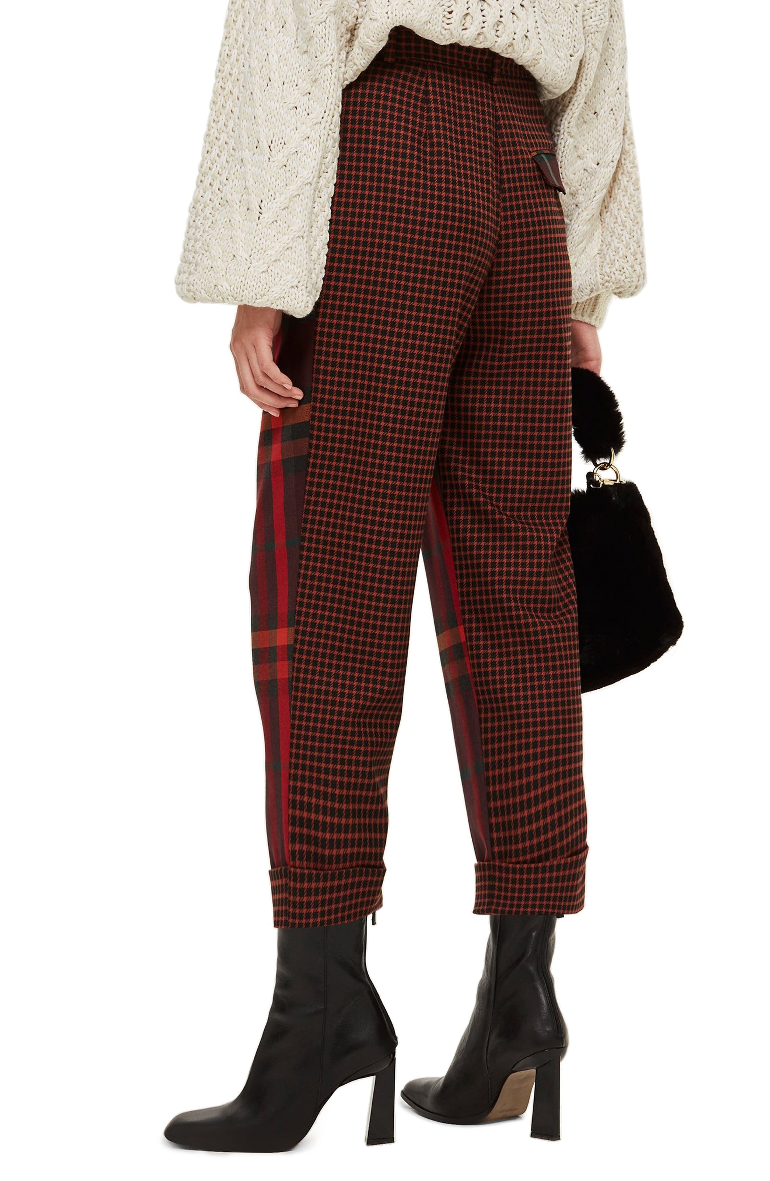 Belted Mixed Check Peg Trousers,                             Alternate thumbnail 2, color,                             RED MULTI