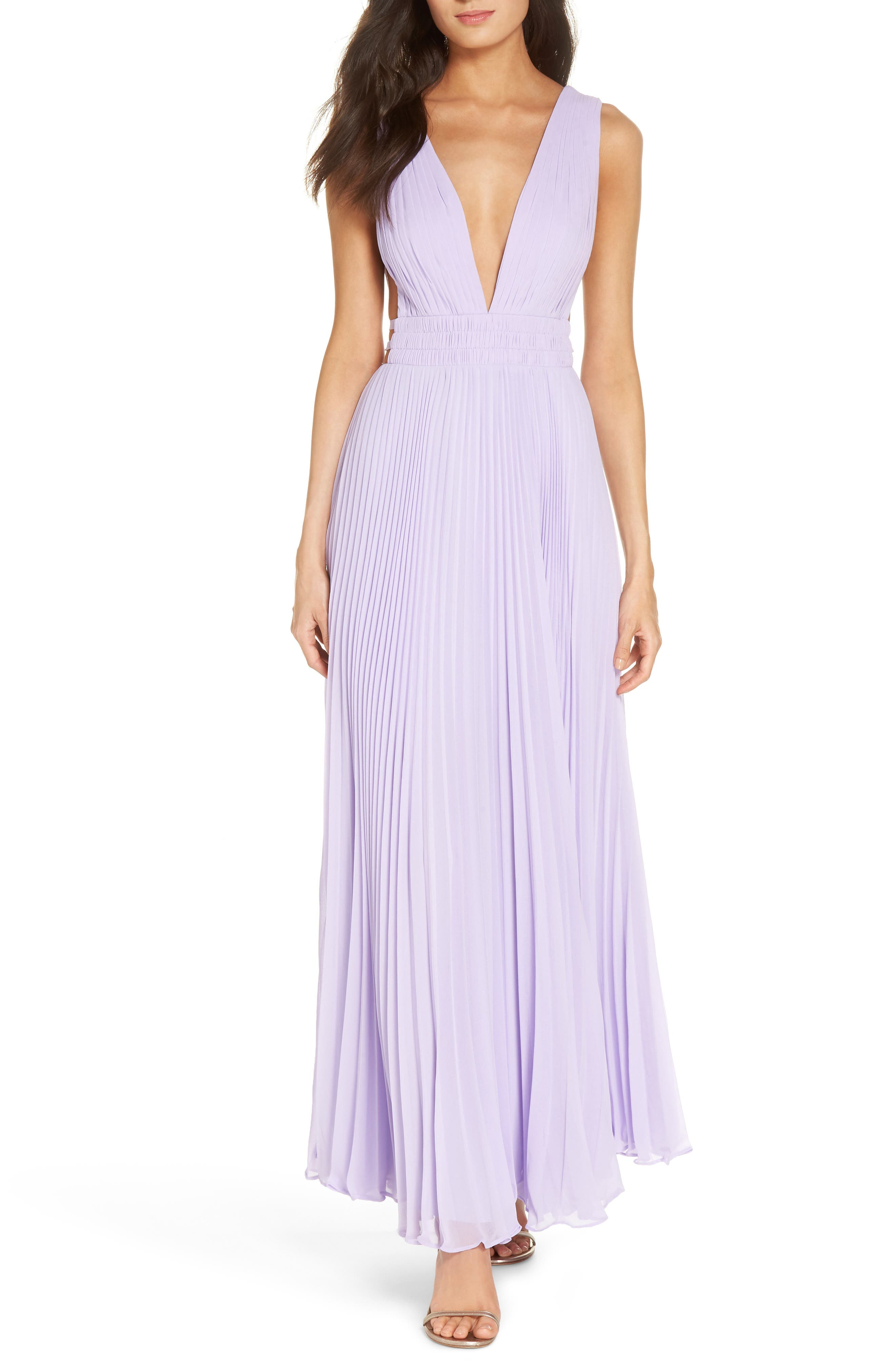 Fame & Partners The Peyton Pleated Gown,                             Main thumbnail 1, color,                             LILAC