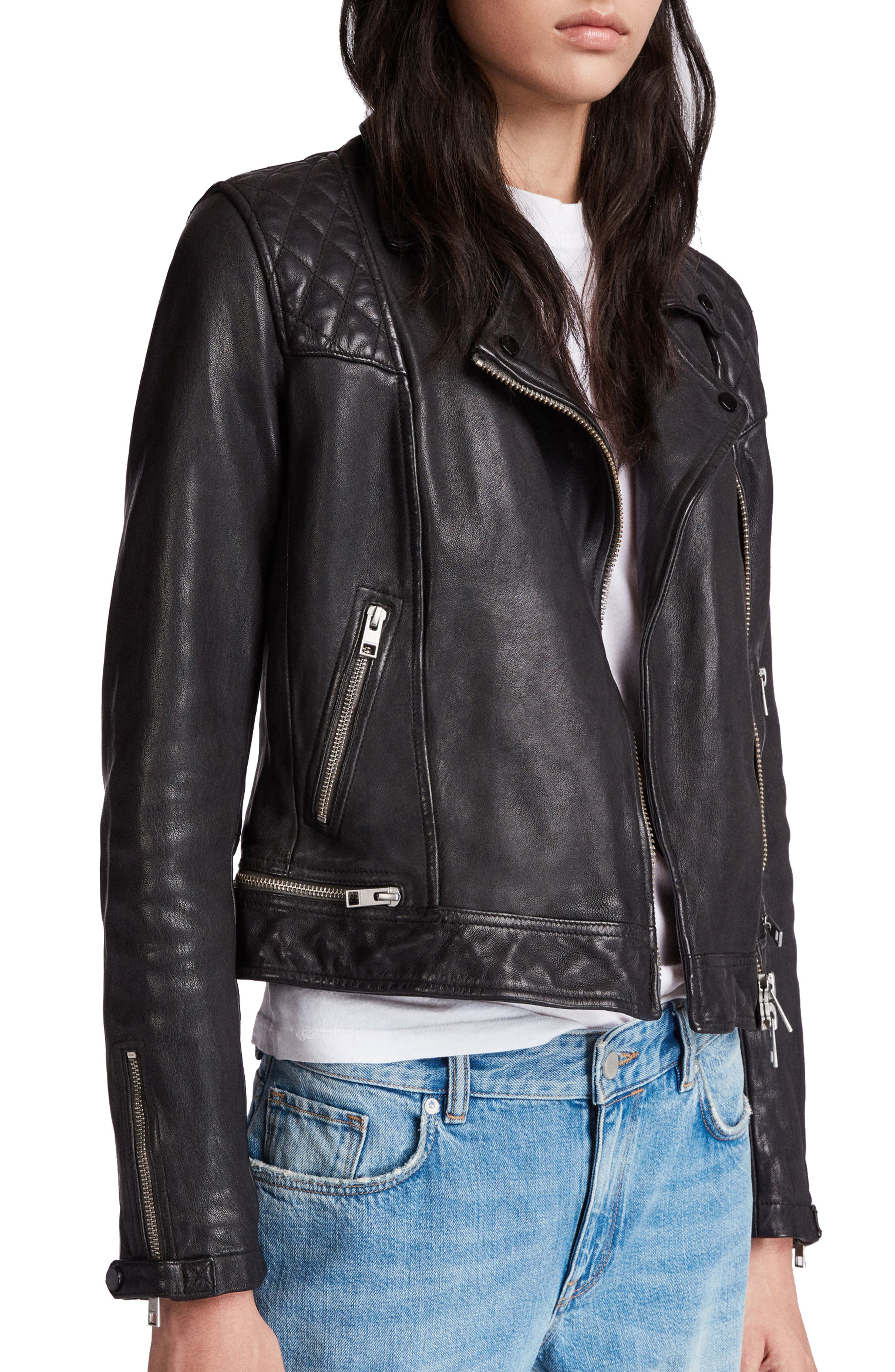 Conroy Leather Biker Jacket,                             Alternate thumbnail 3, color,                             INK