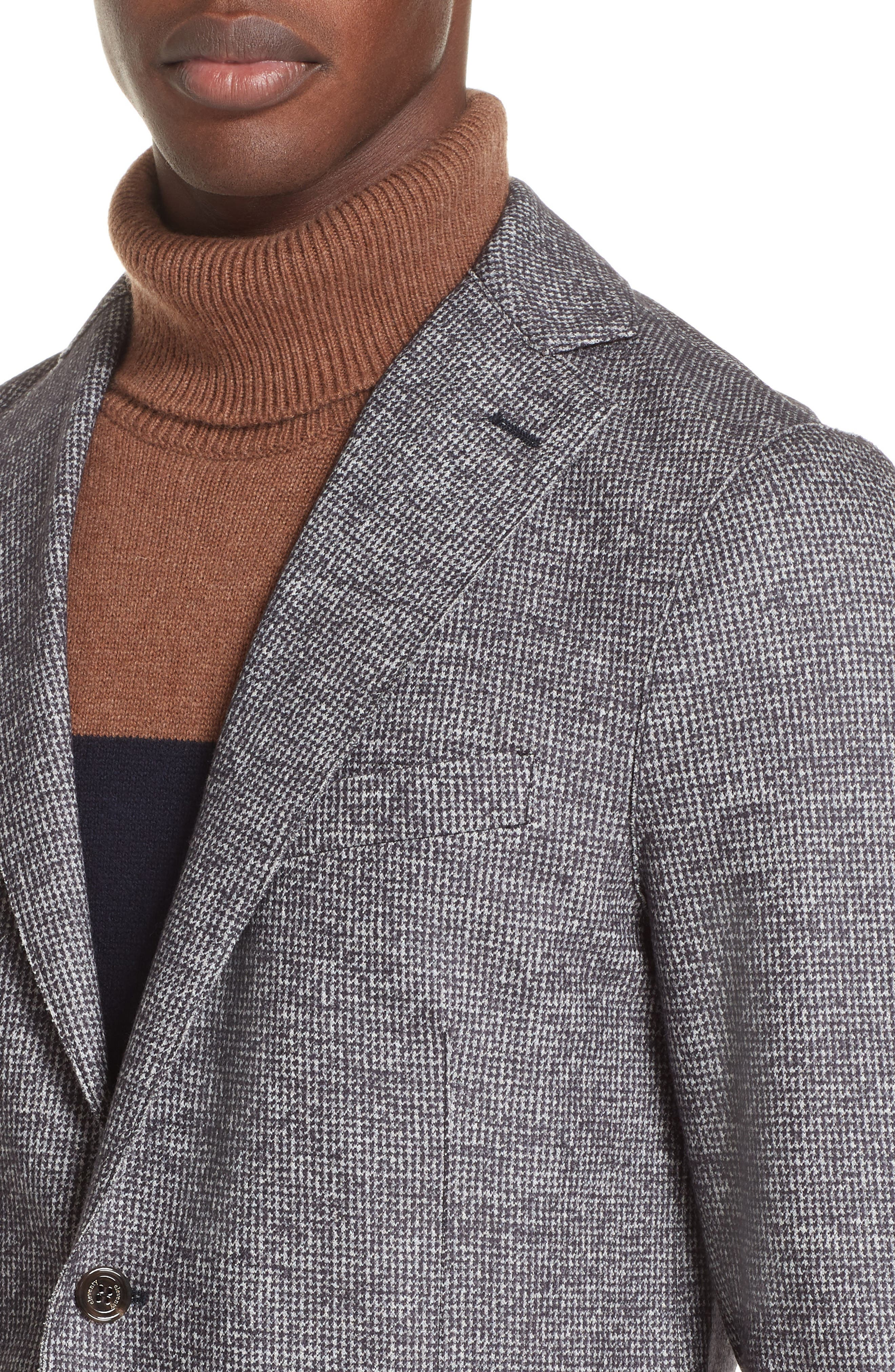 Trim Fit Houndstooth Wool & Cotton Sport Coat,                             Alternate thumbnail 4, color,                             GREY