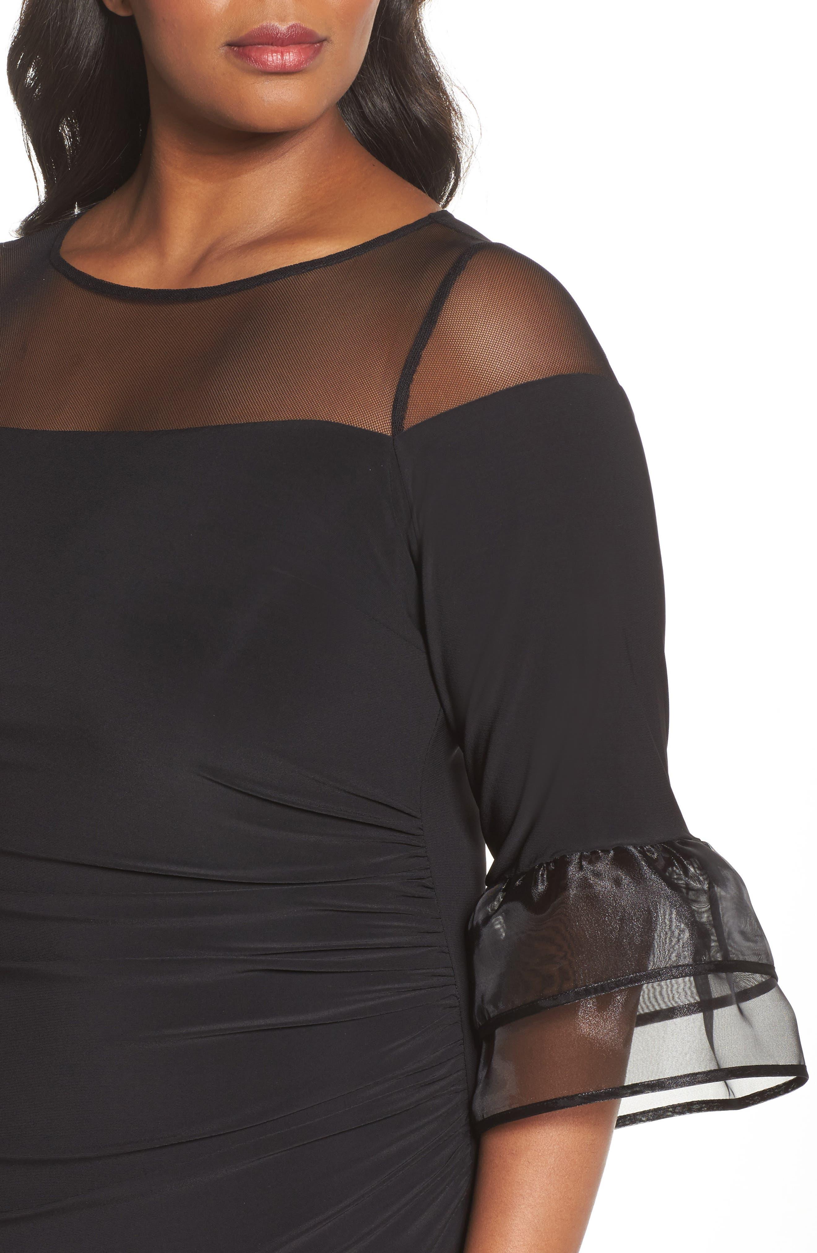 Illusion Yoke Bell Sleeve Sheath Dress,                             Alternate thumbnail 4, color,