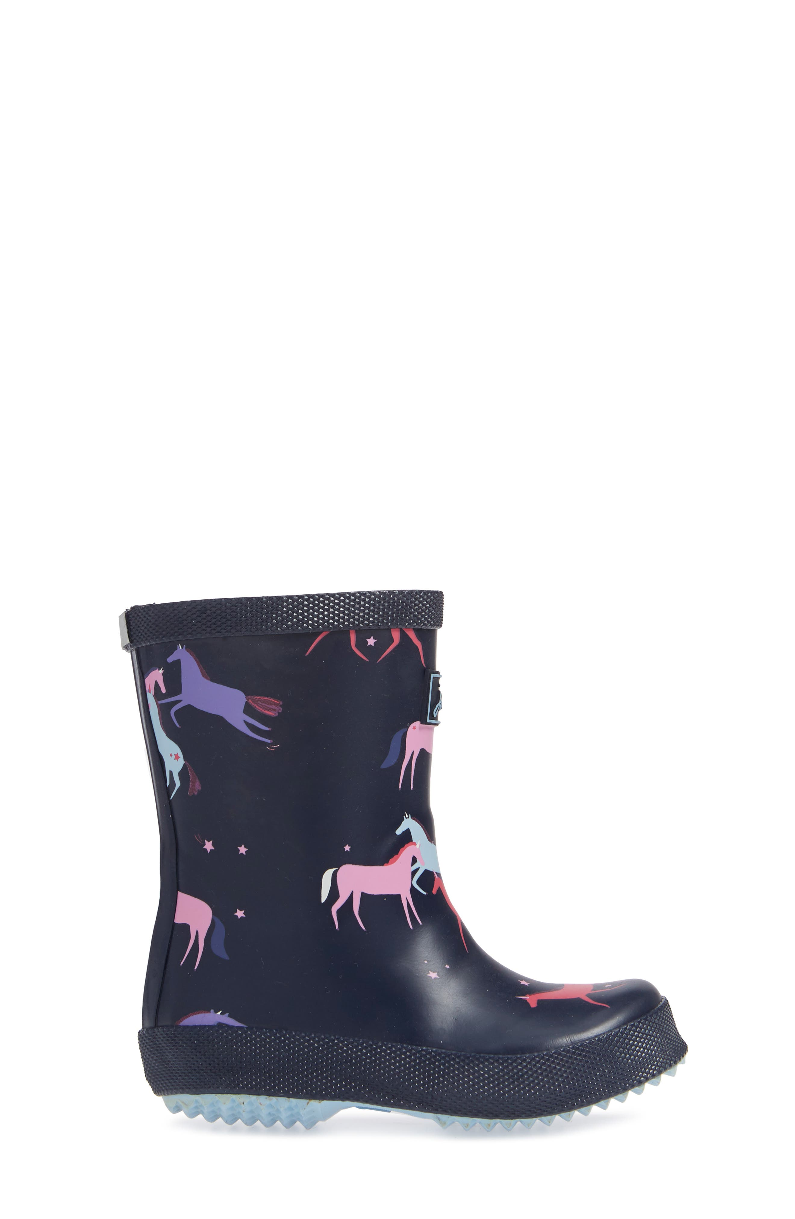 Baby Welly Print Waterproof Boot,                             Alternate thumbnail 3, color,                             NAVY MAGICAL UNICORN