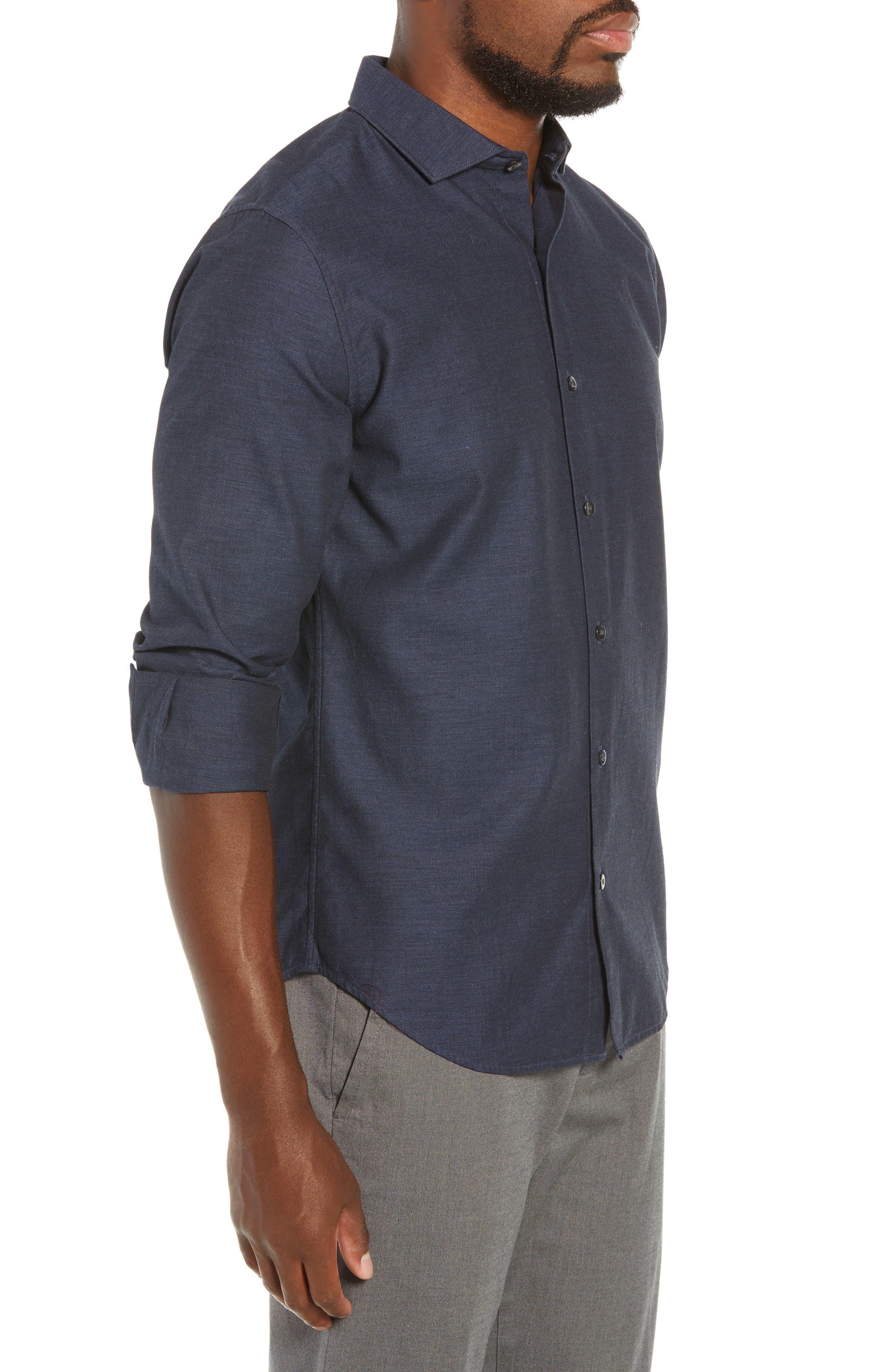 Unbutton Down Slim Fit Sport Shirt,                             Alternate thumbnail 4, color,                             400