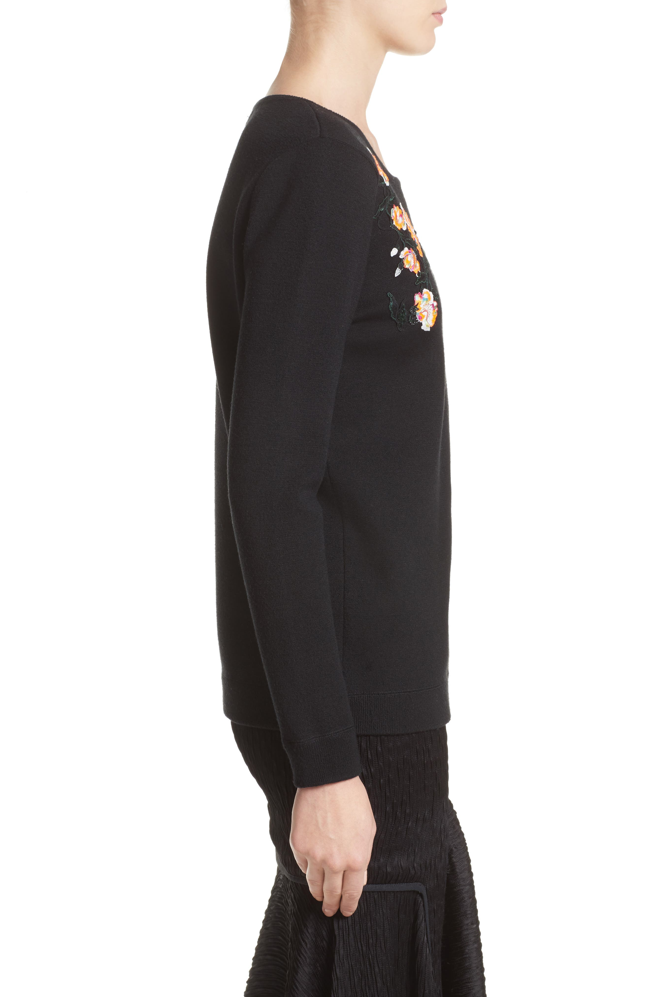 Floral Embroidered Merino Wool Blend Sweater,                             Alternate thumbnail 3, color,                             001