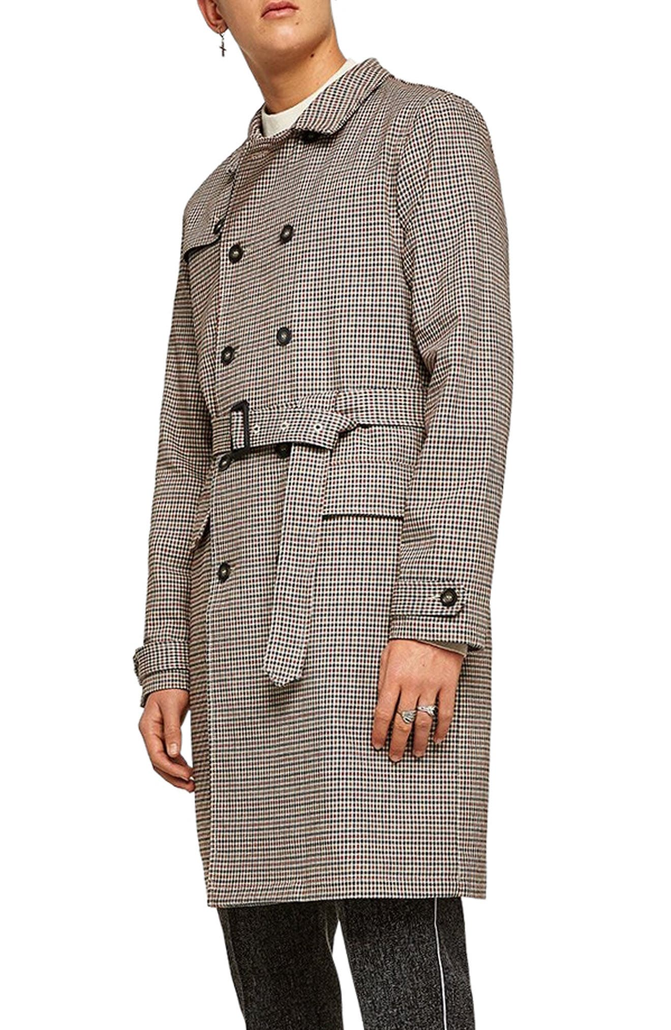 Houndstooth Trench Coat,                             Alternate thumbnail 3, color,                             BROWN MULTI