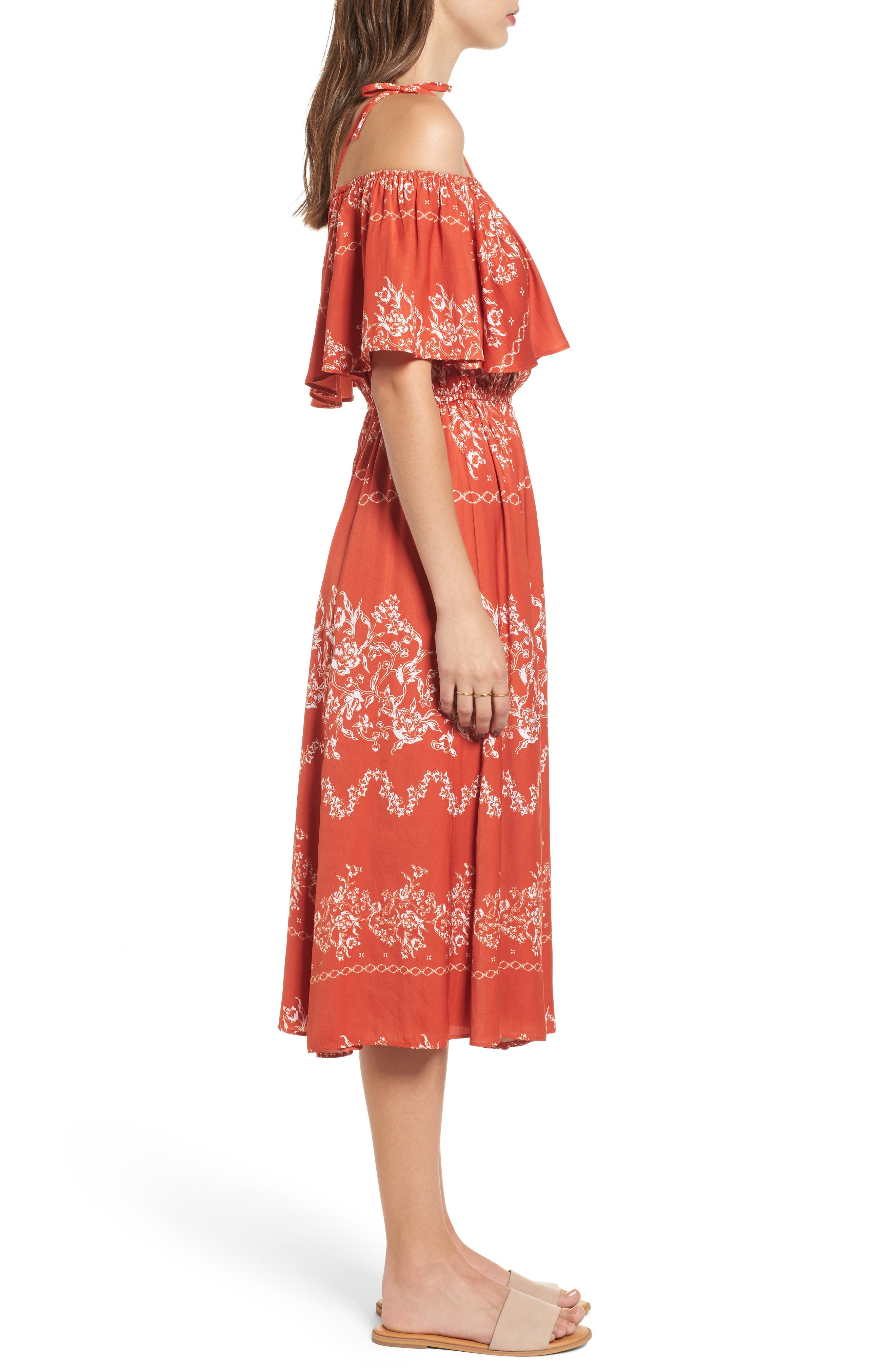 Jacqui Floral Print Cold Shoulder Dress,                             Alternate thumbnail 3, color,                             600