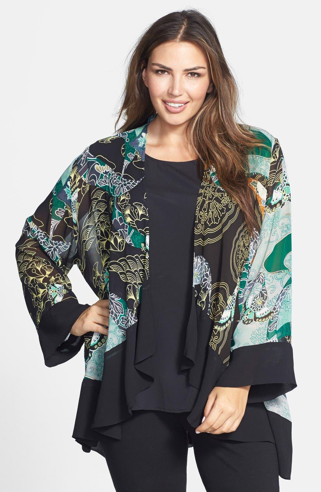 Print Silk Kimono Jacket,                             Main thumbnail 1, color,                             310