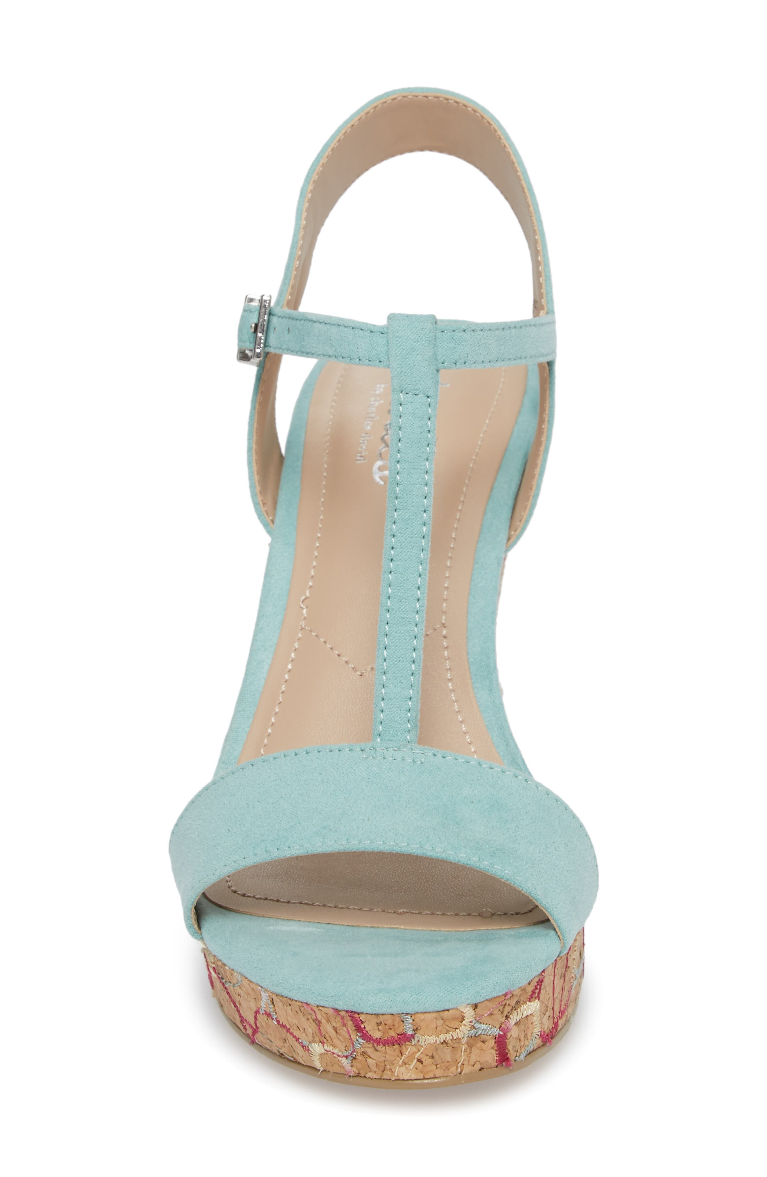 Laney Embroidered Wedge Sandal,                             Alternate thumbnail 4, color,                             MINT GREEN SUEDE